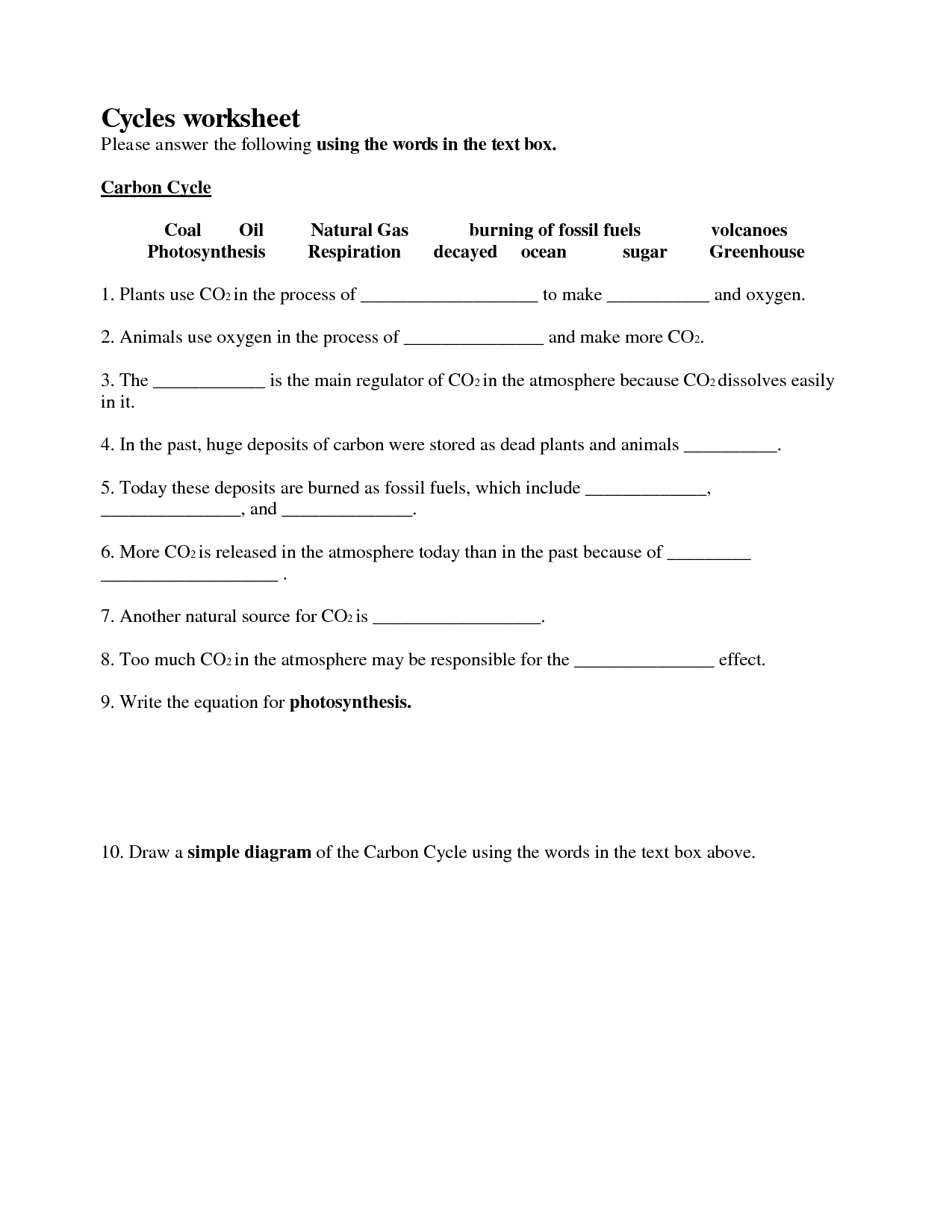Worksheets Cycles Worksheet Answers Cheatslist Free