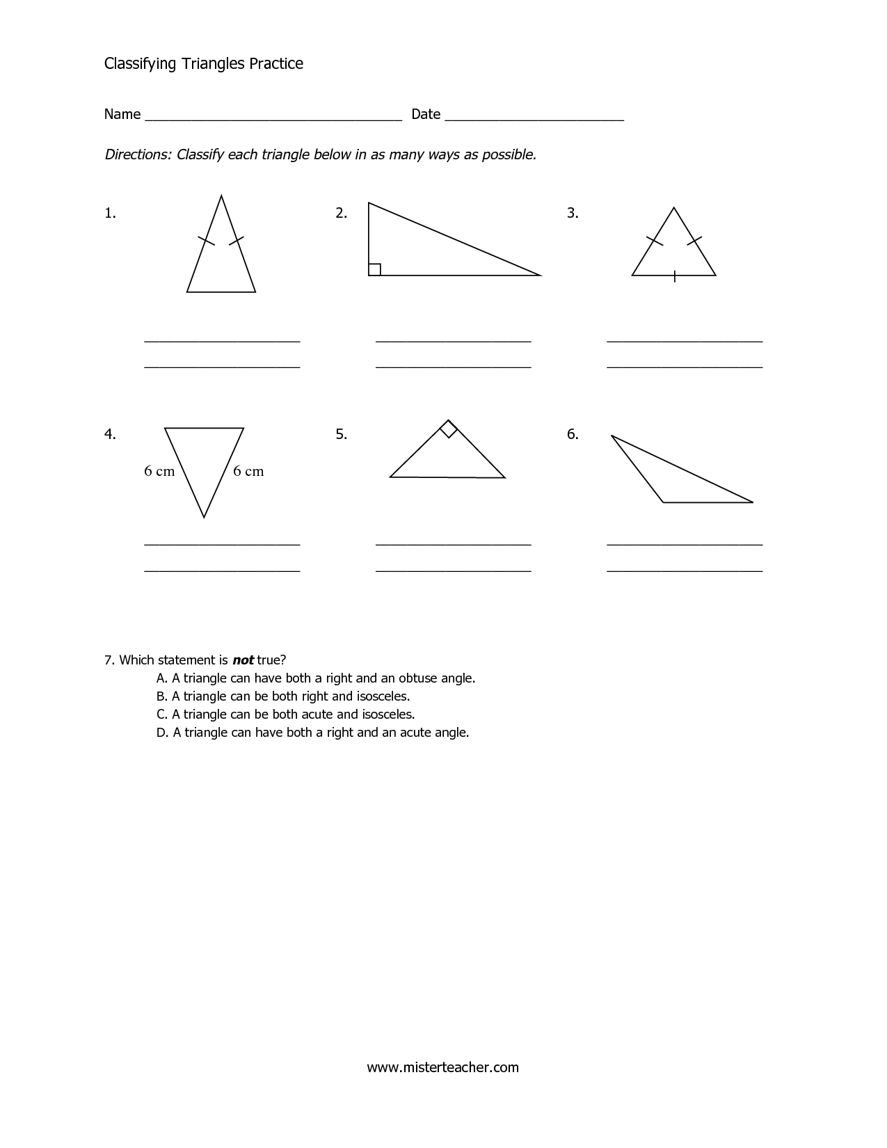 13 Best Images Of Classifying Triangles By Angles