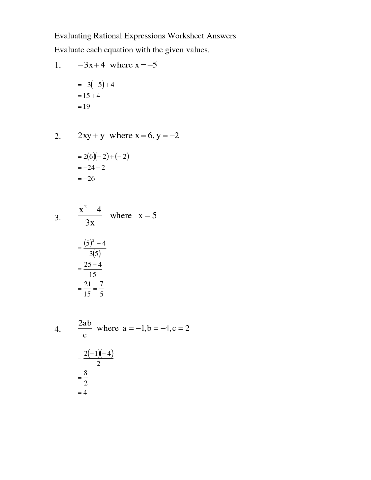 11 Best Images Of Evaluating Algebra Expressions