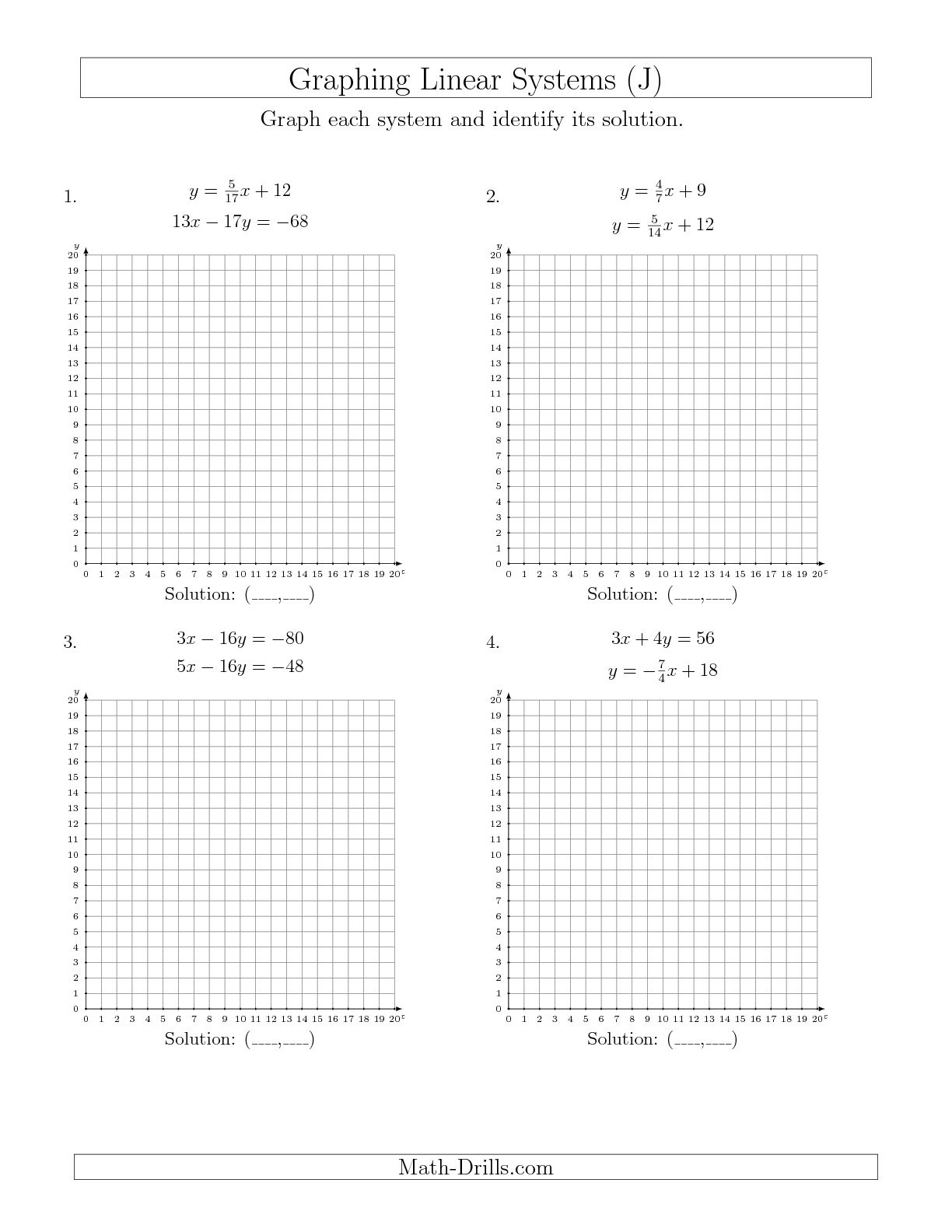 Graphing Linear Equations Worksheet Grade 7