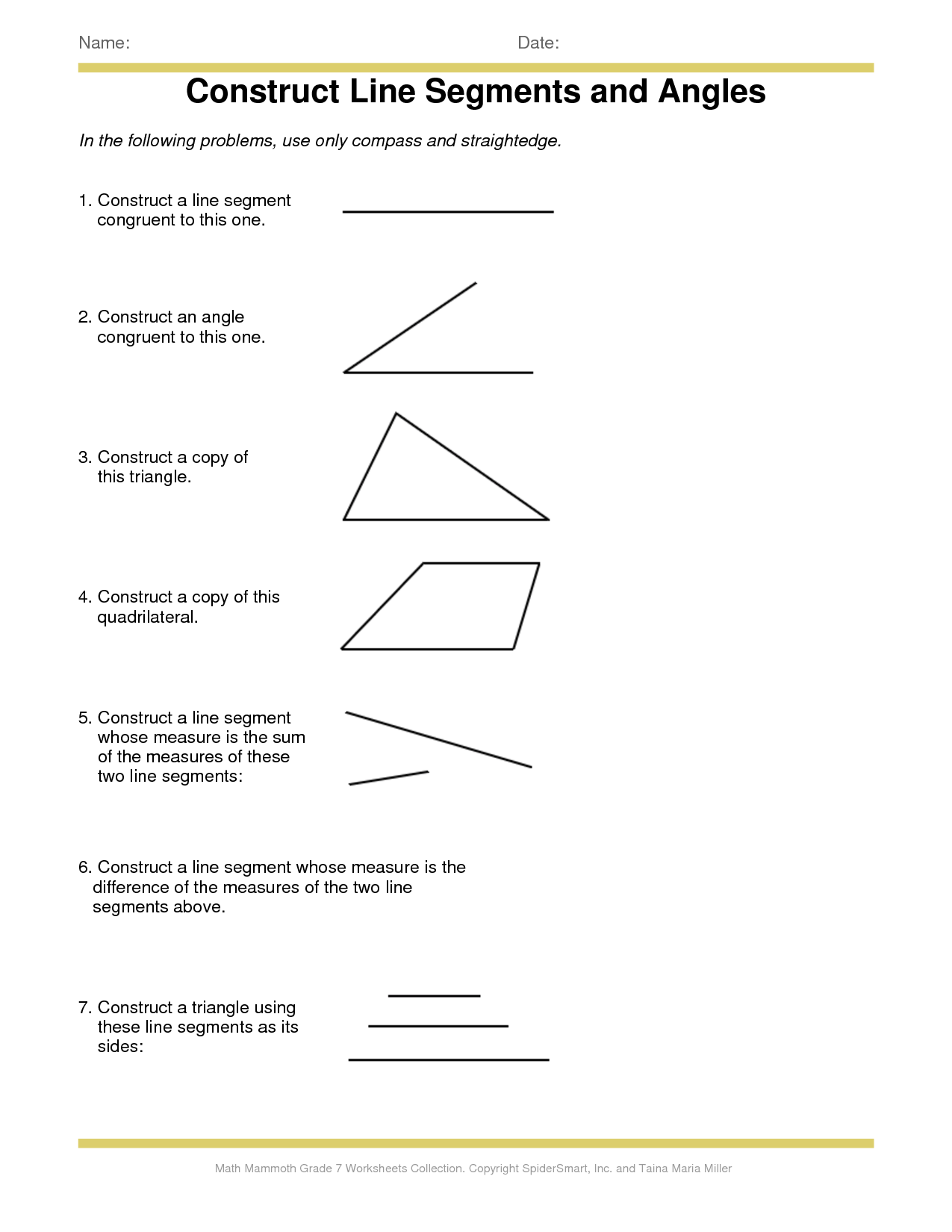 Identifying Line Segments Worksheet