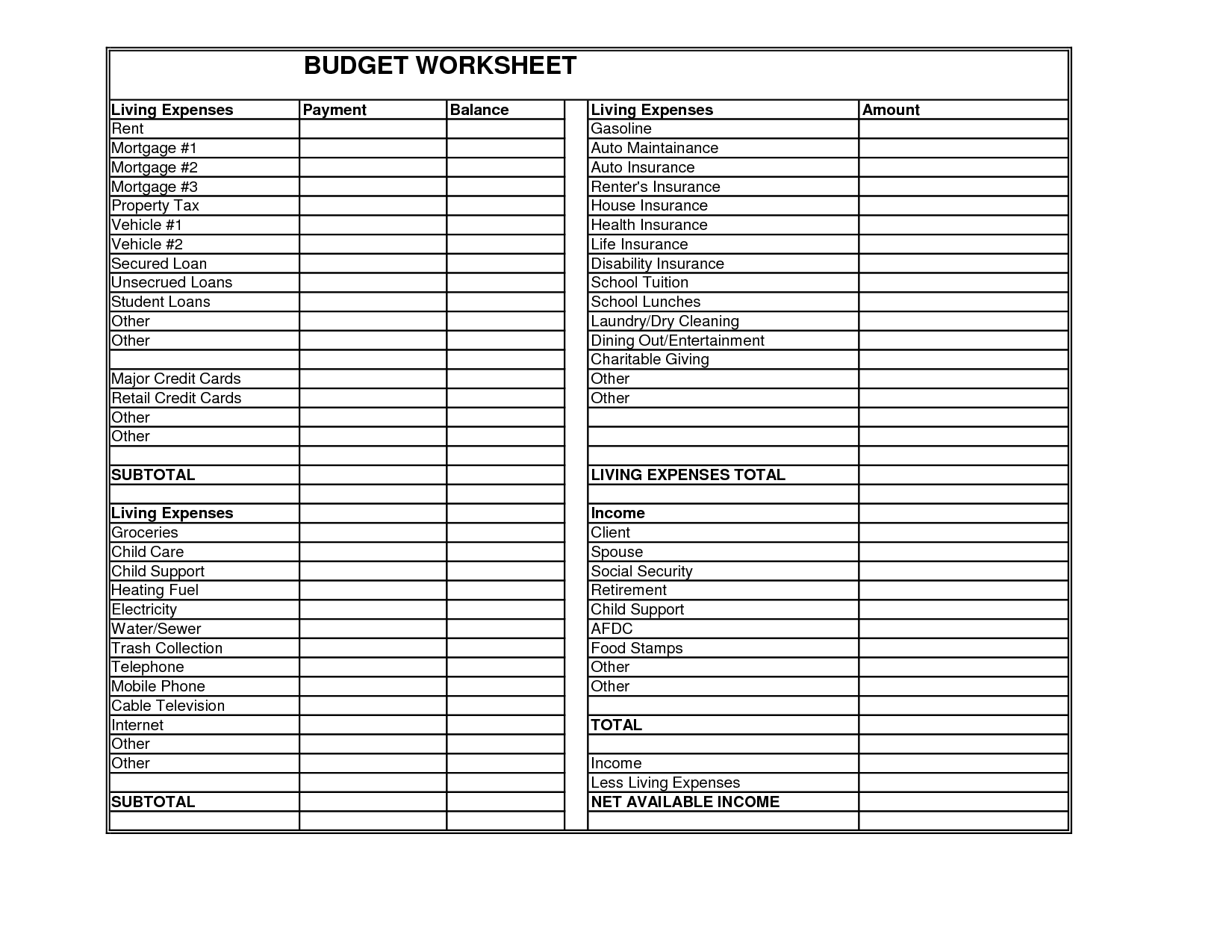 12 Best Images Of Living Budget Worksheet