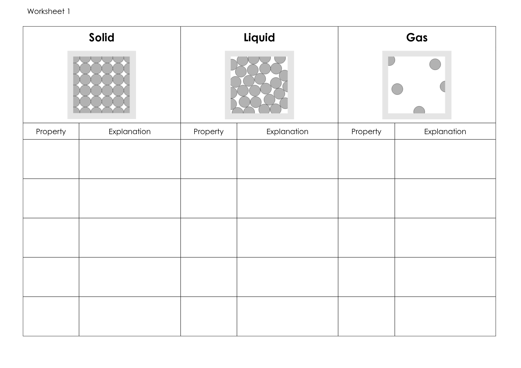 Water Solid Liquid Gas Worksheet