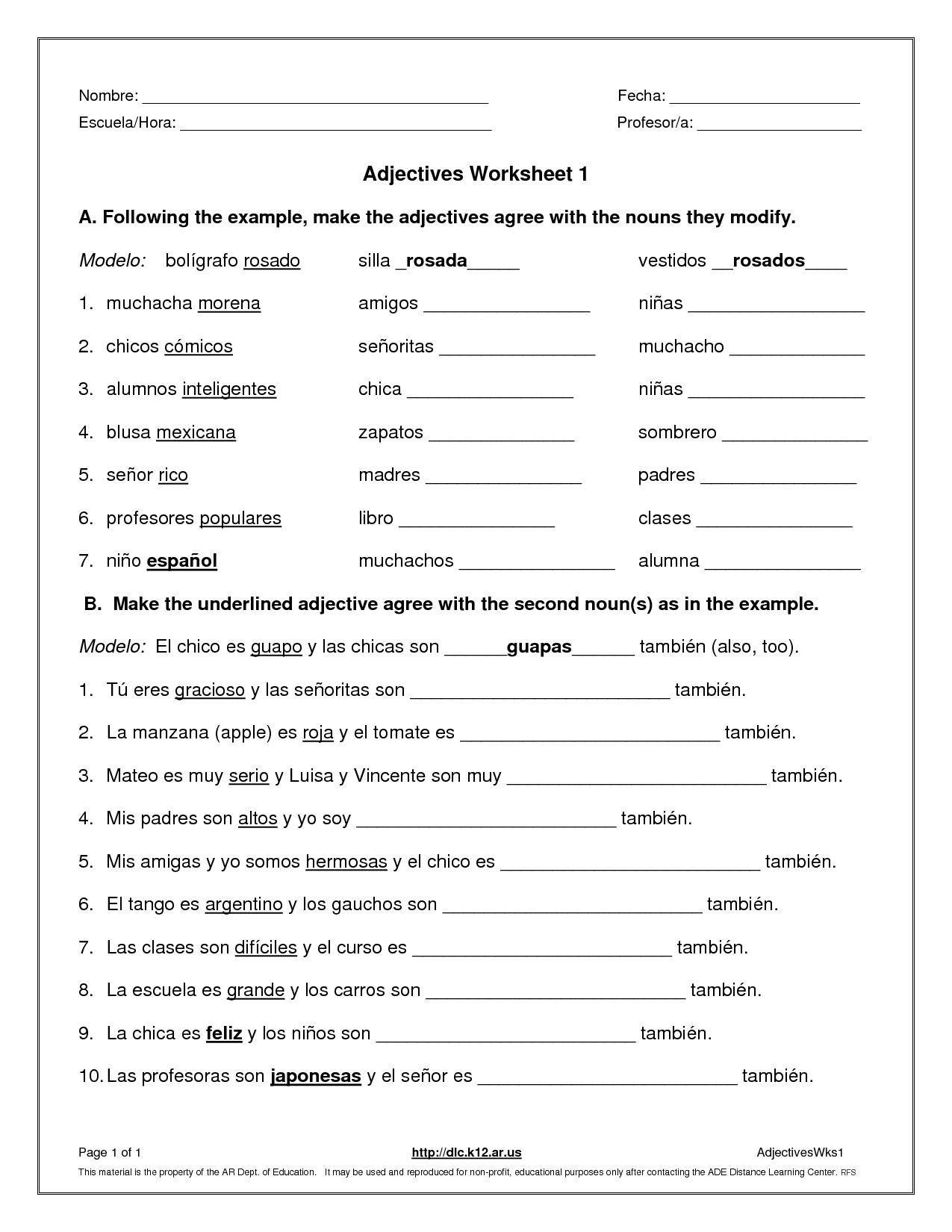Adjectives Pictures Worksheets