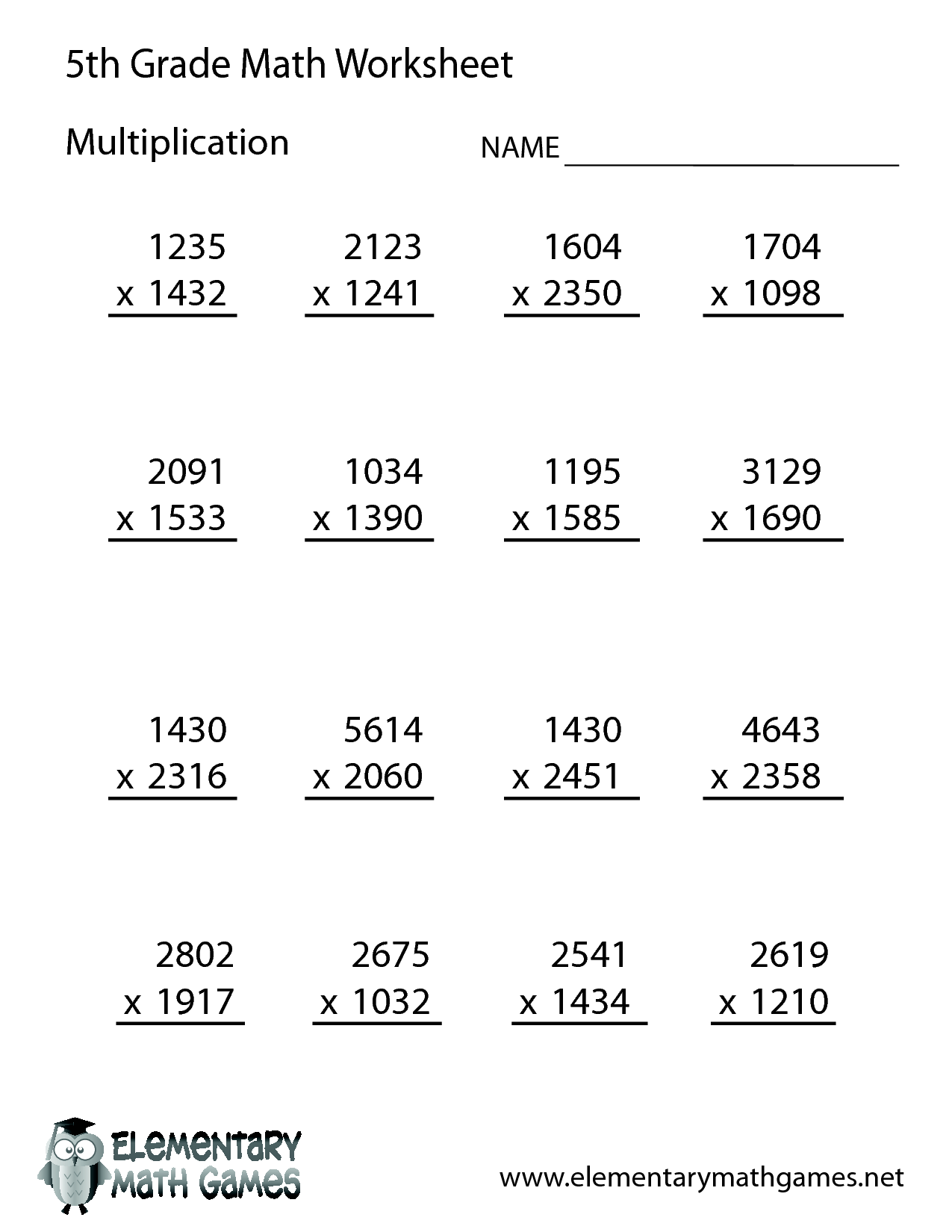 14 Best Images Of 5th Grade Math Worksheets With Answer