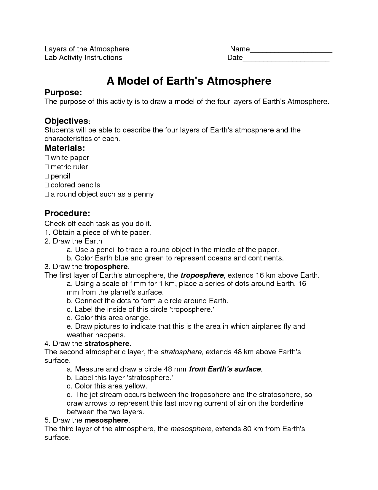 13 Best Images Of Atmosphere Worksheets For Middle
