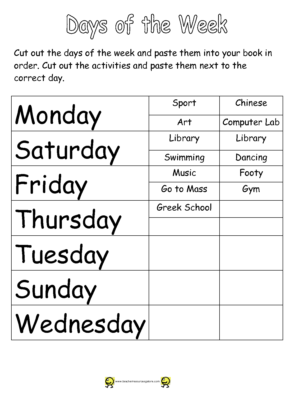 12 Best Images Of Days Of Week Worksheets Kindergarten