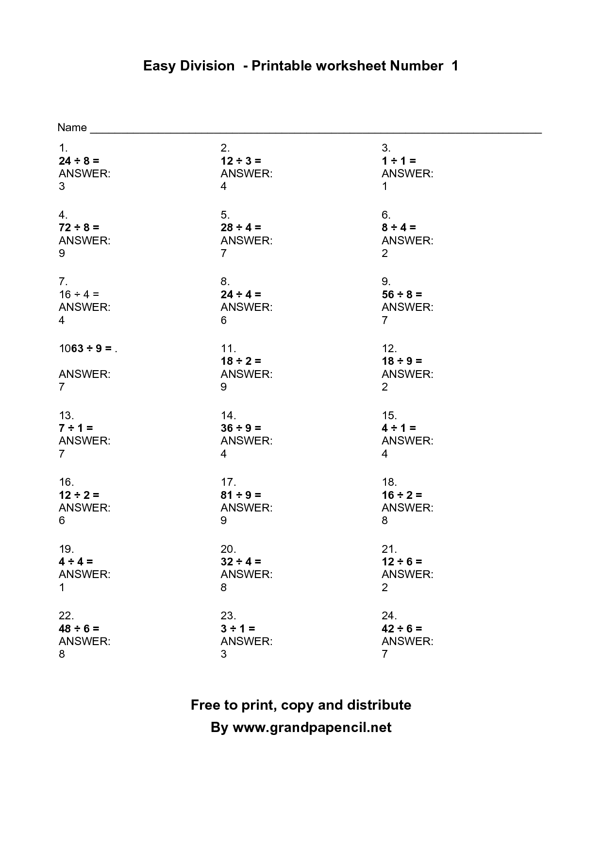 Division Words Worksheet