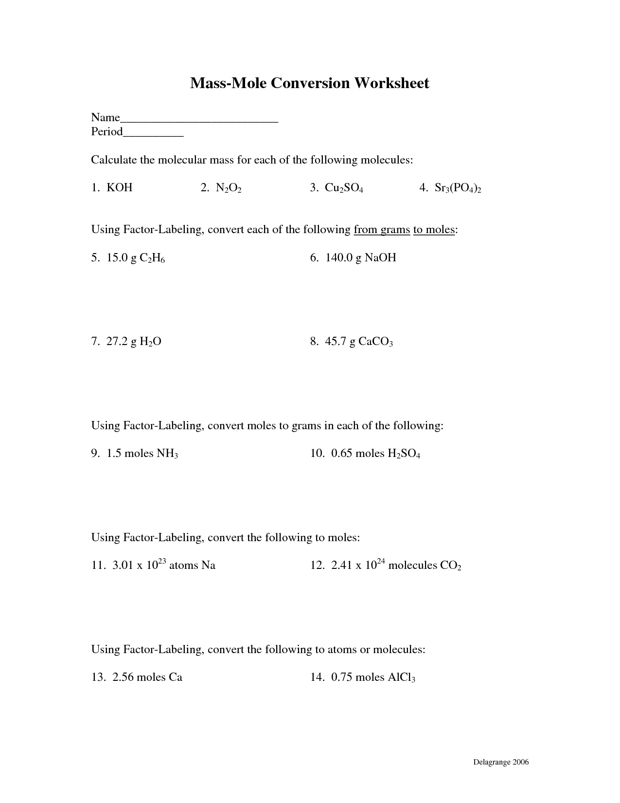 10 Best Images Of Moles And Mass Worksheet Answers
