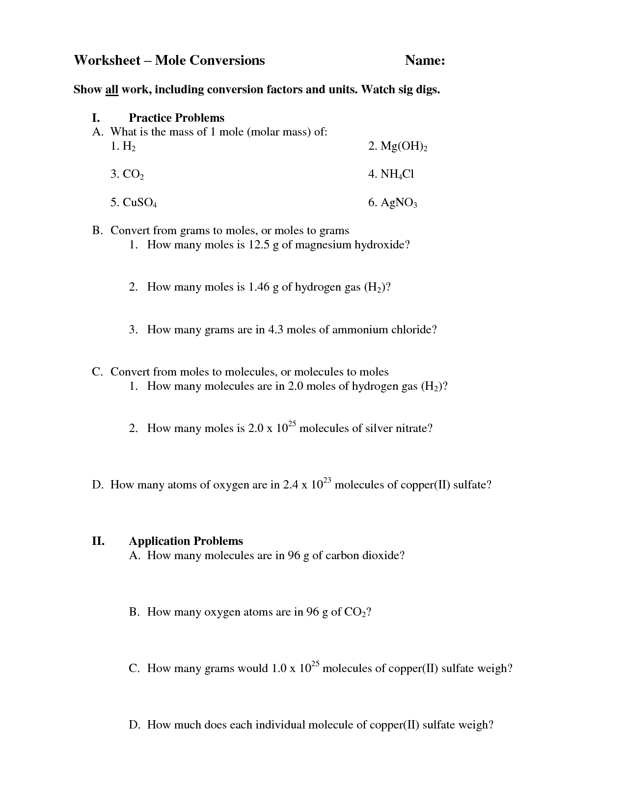 Worksheet Mole Mole Problems Key