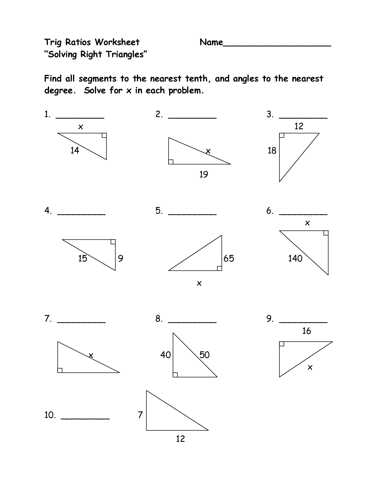 Geometry Trig Worksheet