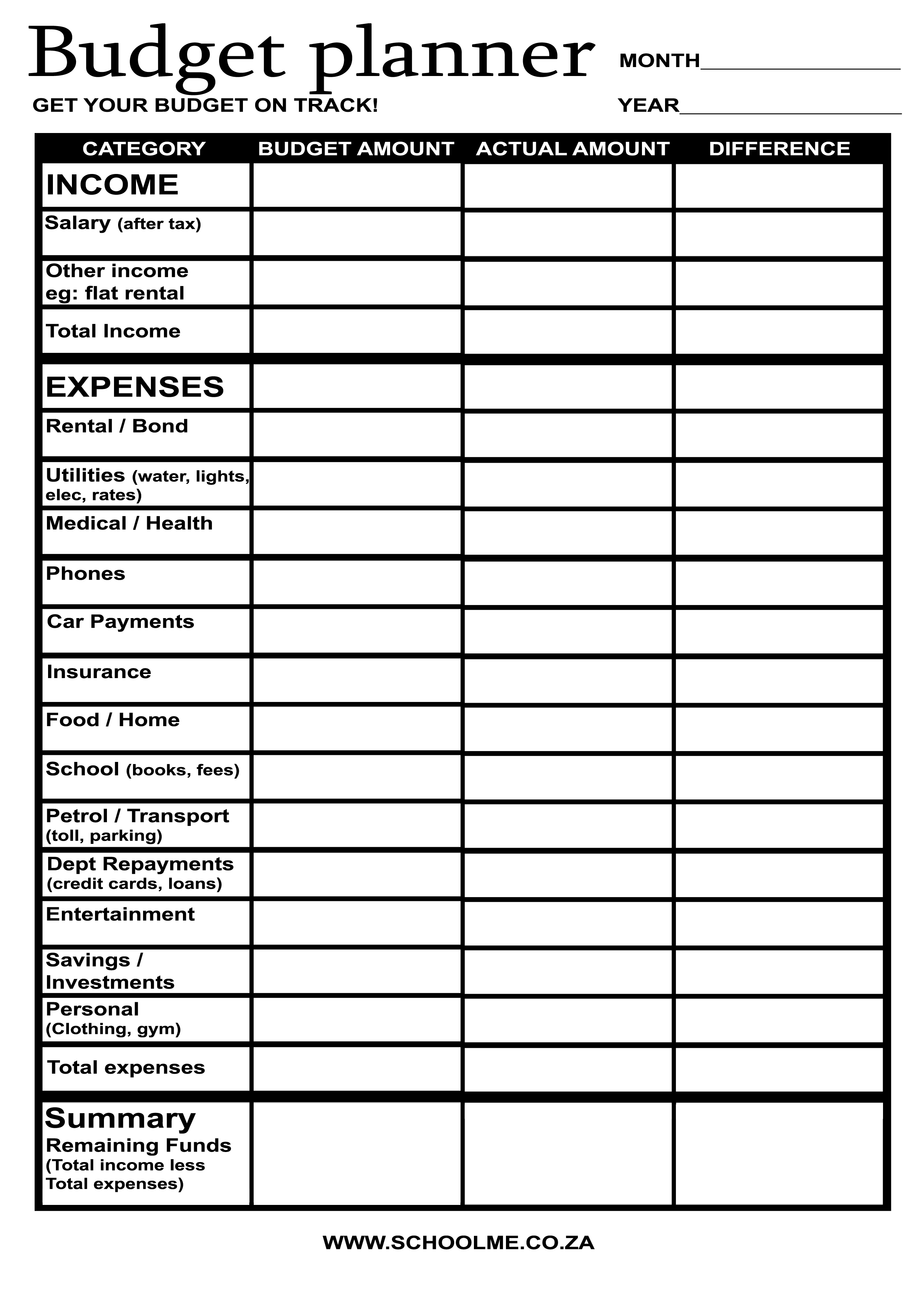 14 Best Images Of Monthly Budget Worksheet Free