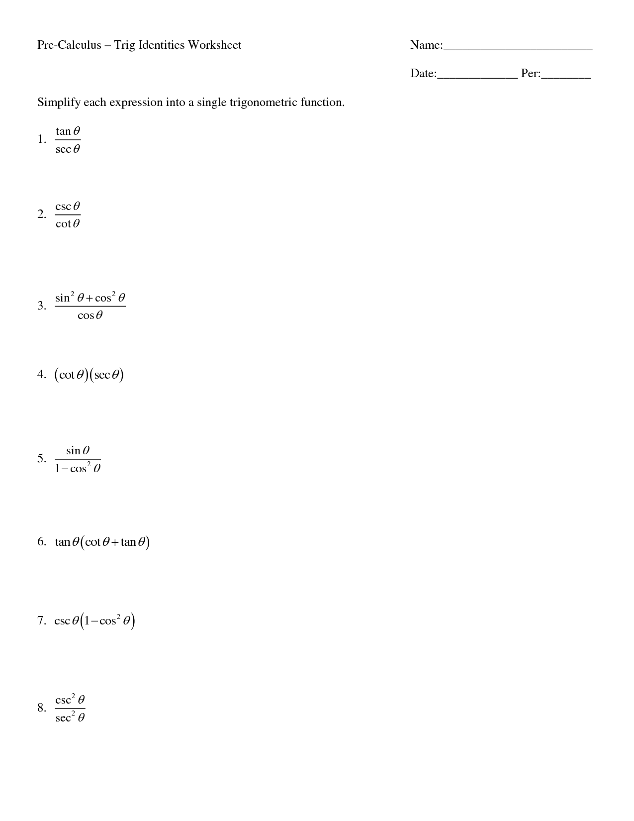 28 Trig Identities Worksheet Answers