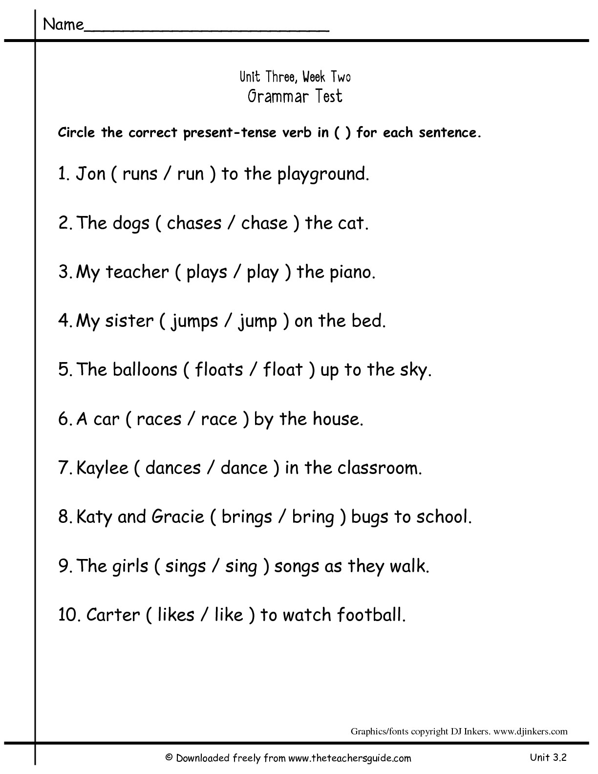 Online Grammar Test For Grade 5