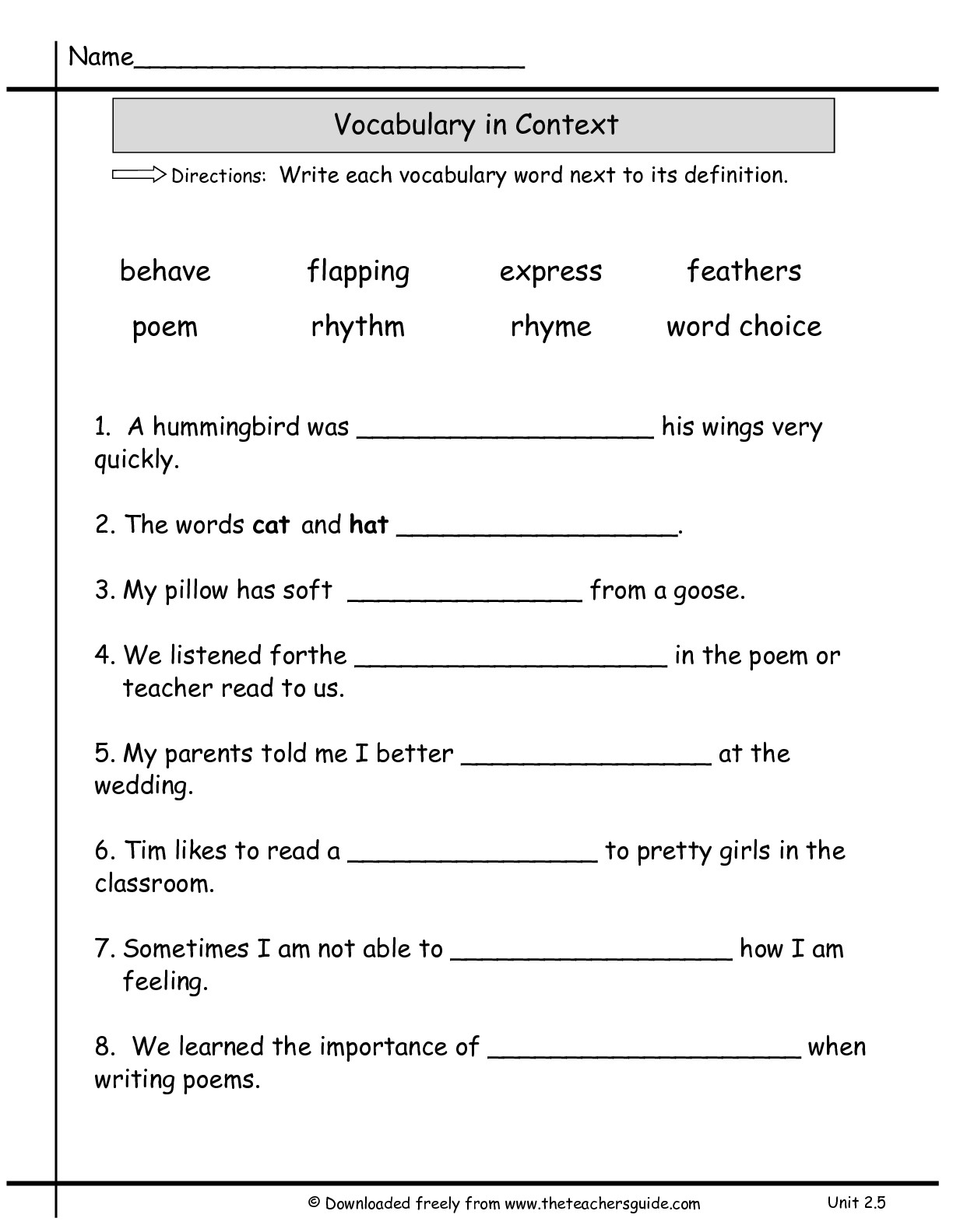13 Best Images Of Vocabulary Practice Worksheets