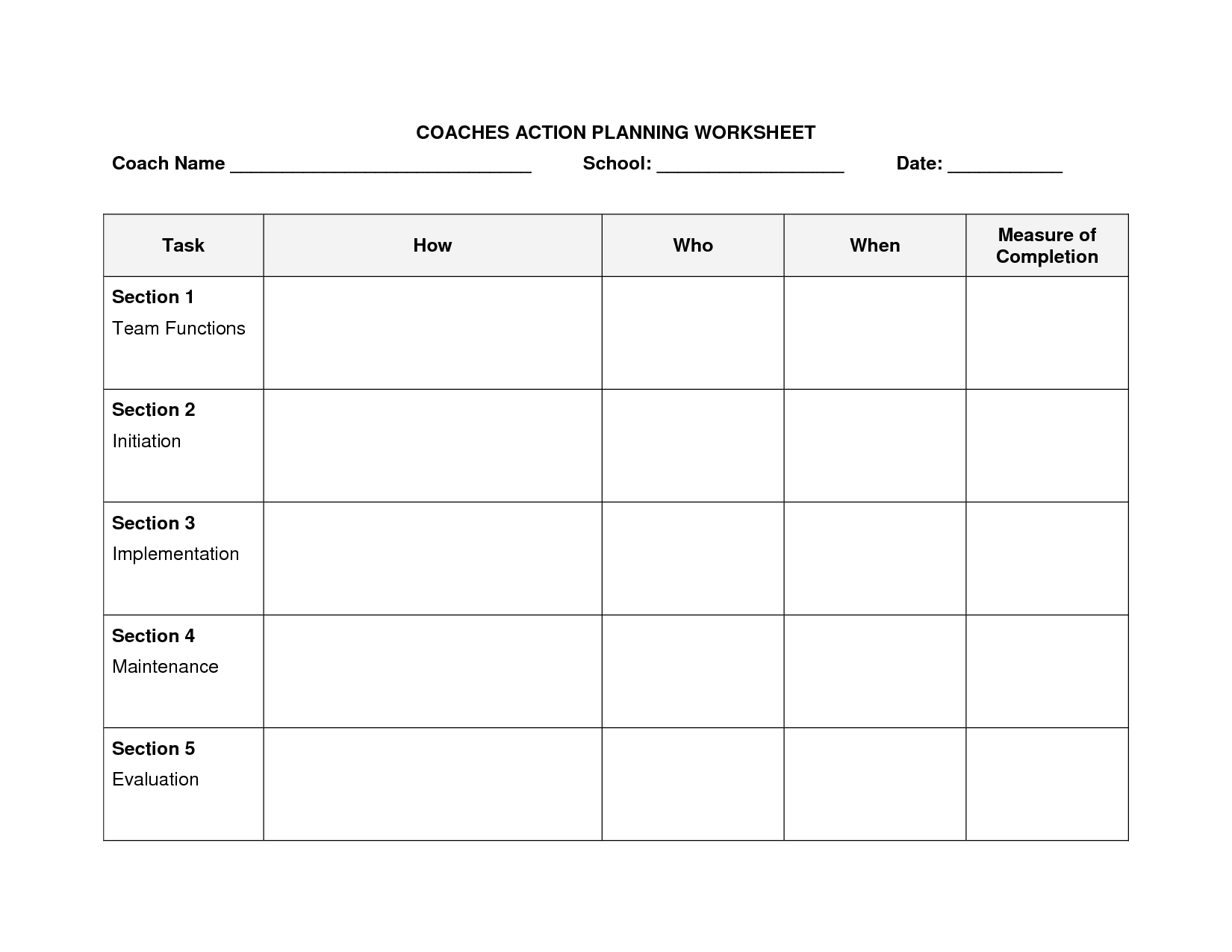 Strategic Planning Worksheet Excel