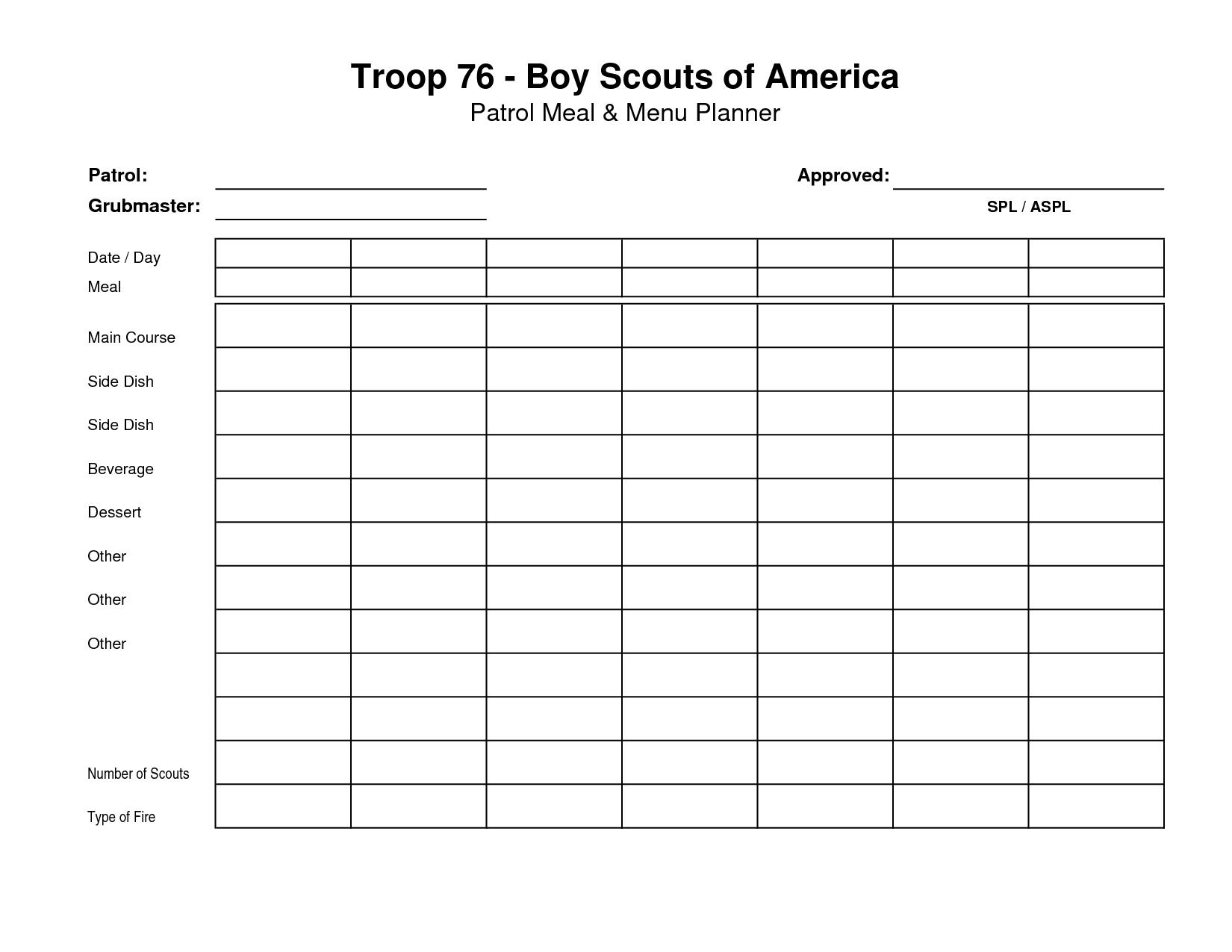 30 Boy Scout Planning Worksheet