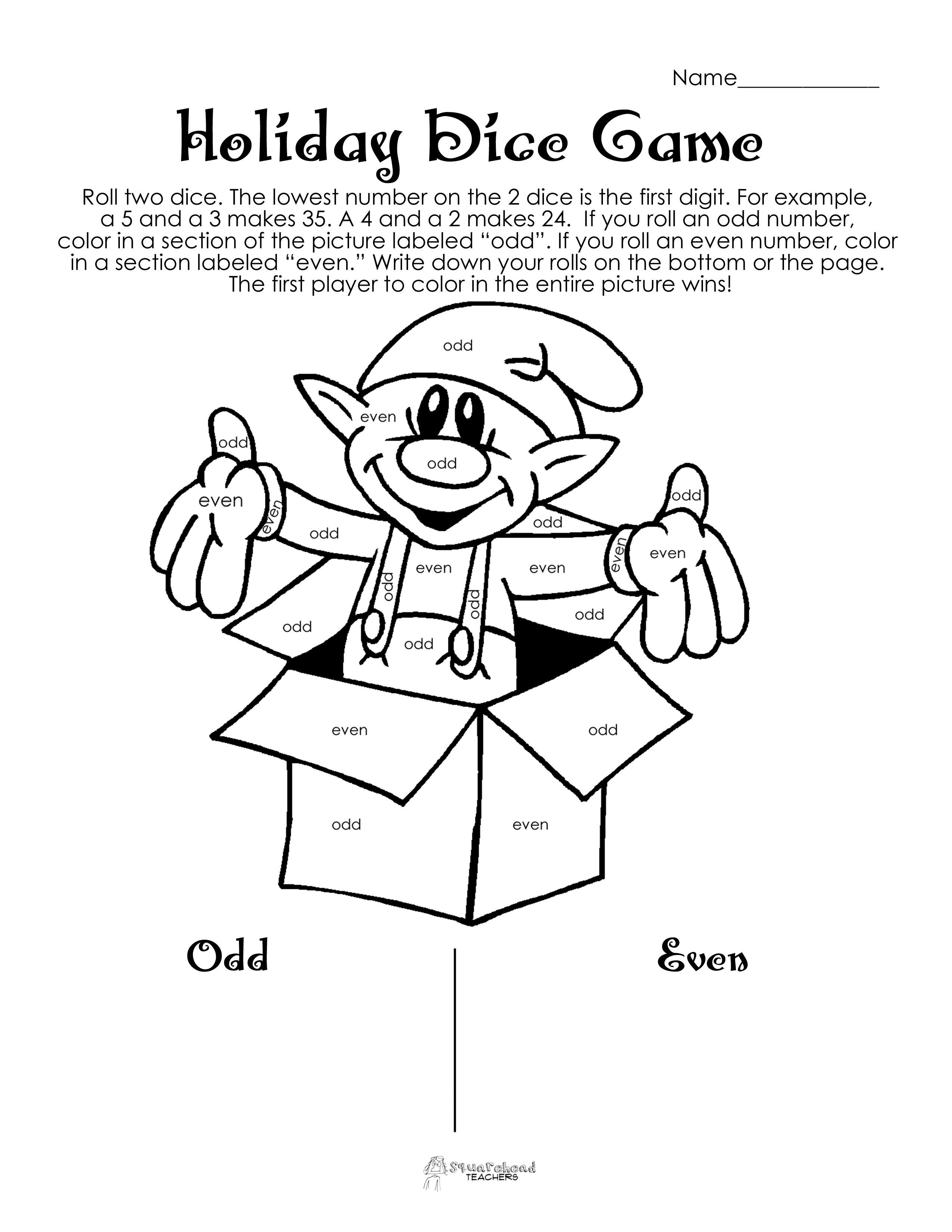 10 Best Images Of Dice Games Printable Worksheets