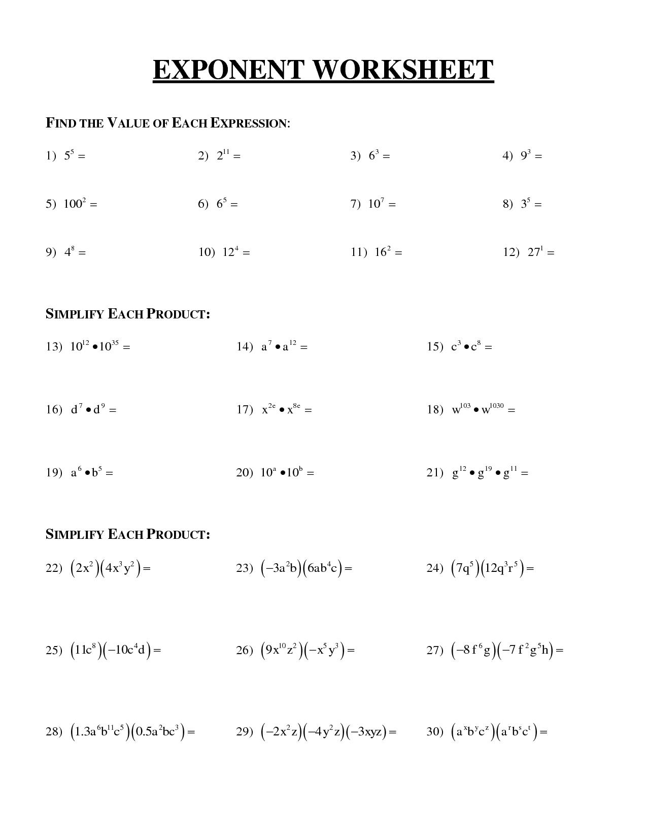 20 Best Images Of Algebra Worksheets
