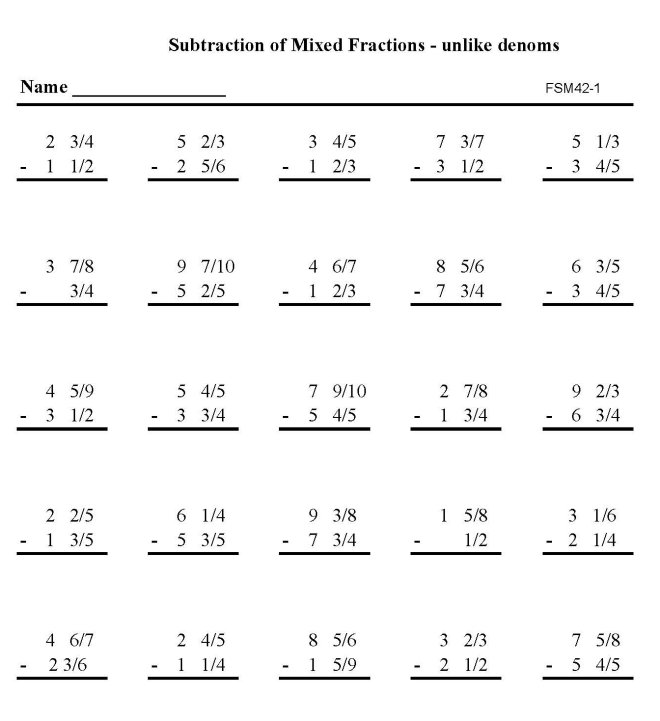 13 Best Images of Printable Mixed Fraction Worksheets