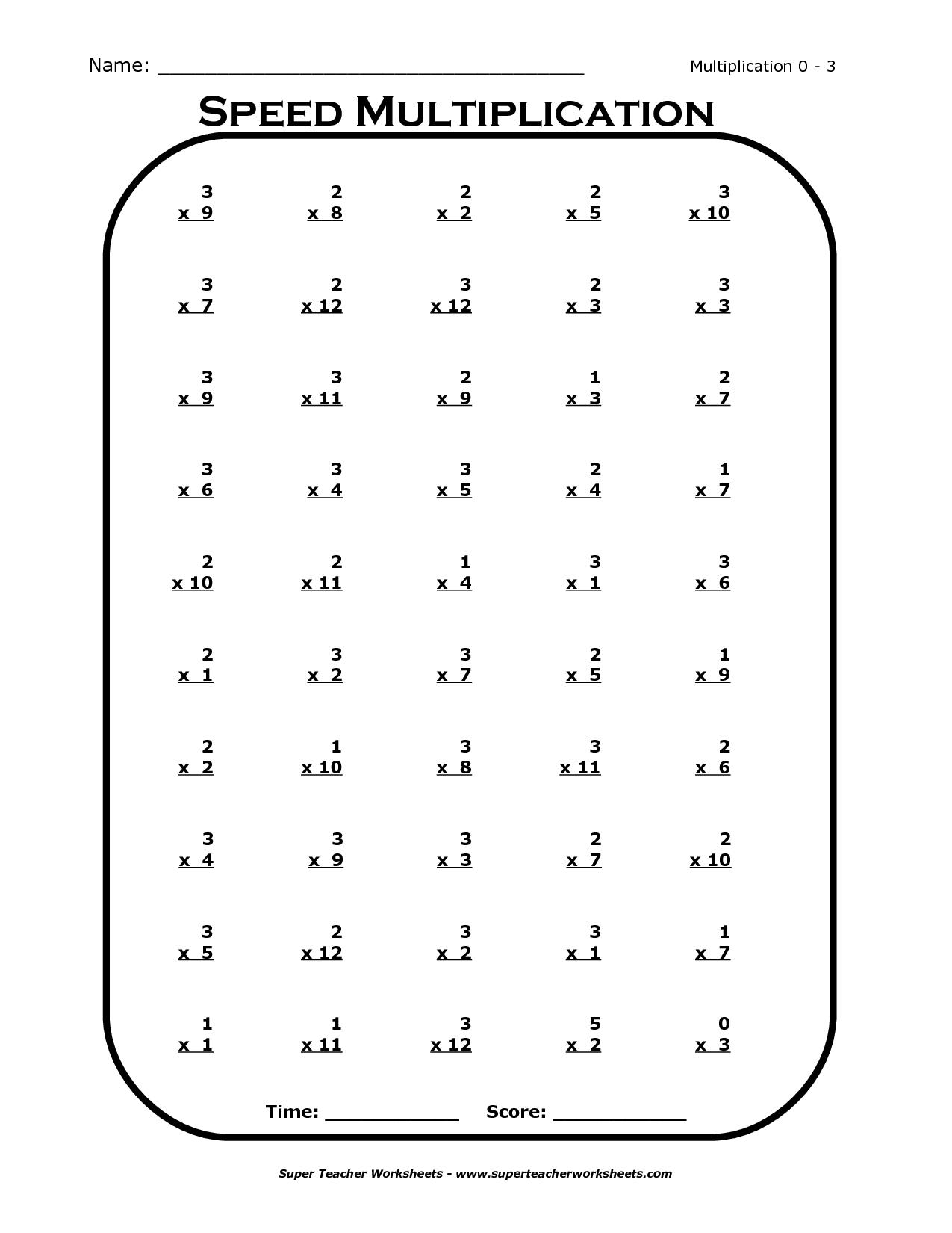 Multiplication 6 7 8 9 Worksheets
