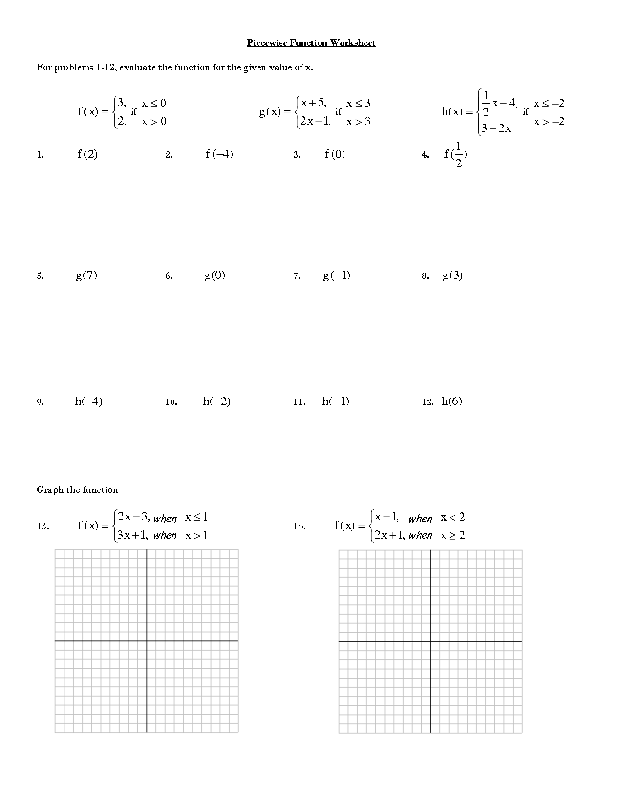 Functions Math Worksheets