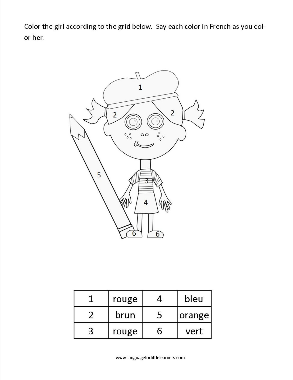 French Word Search Color Sketch Coloring Page