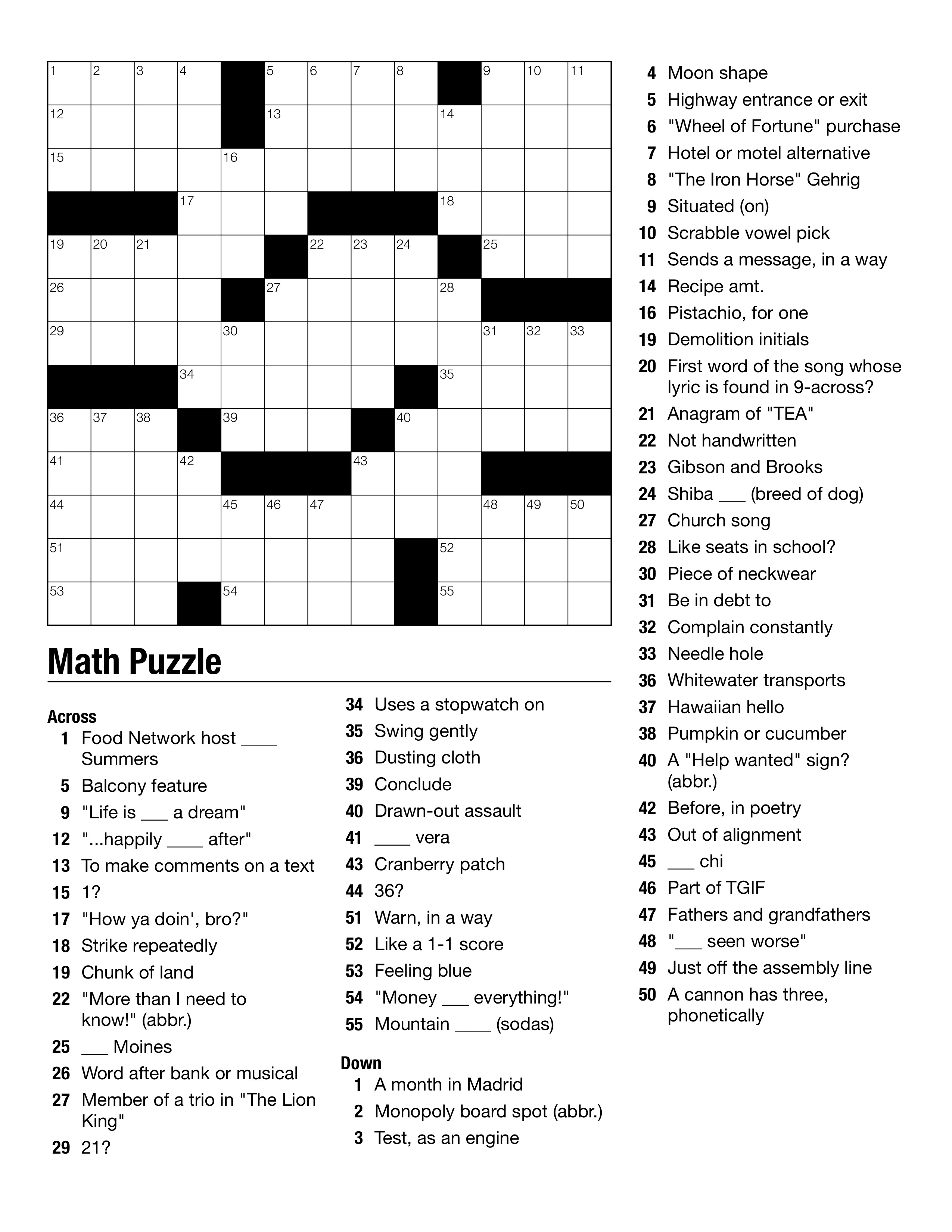 Free Printable Crossword Puzzles For Middle School