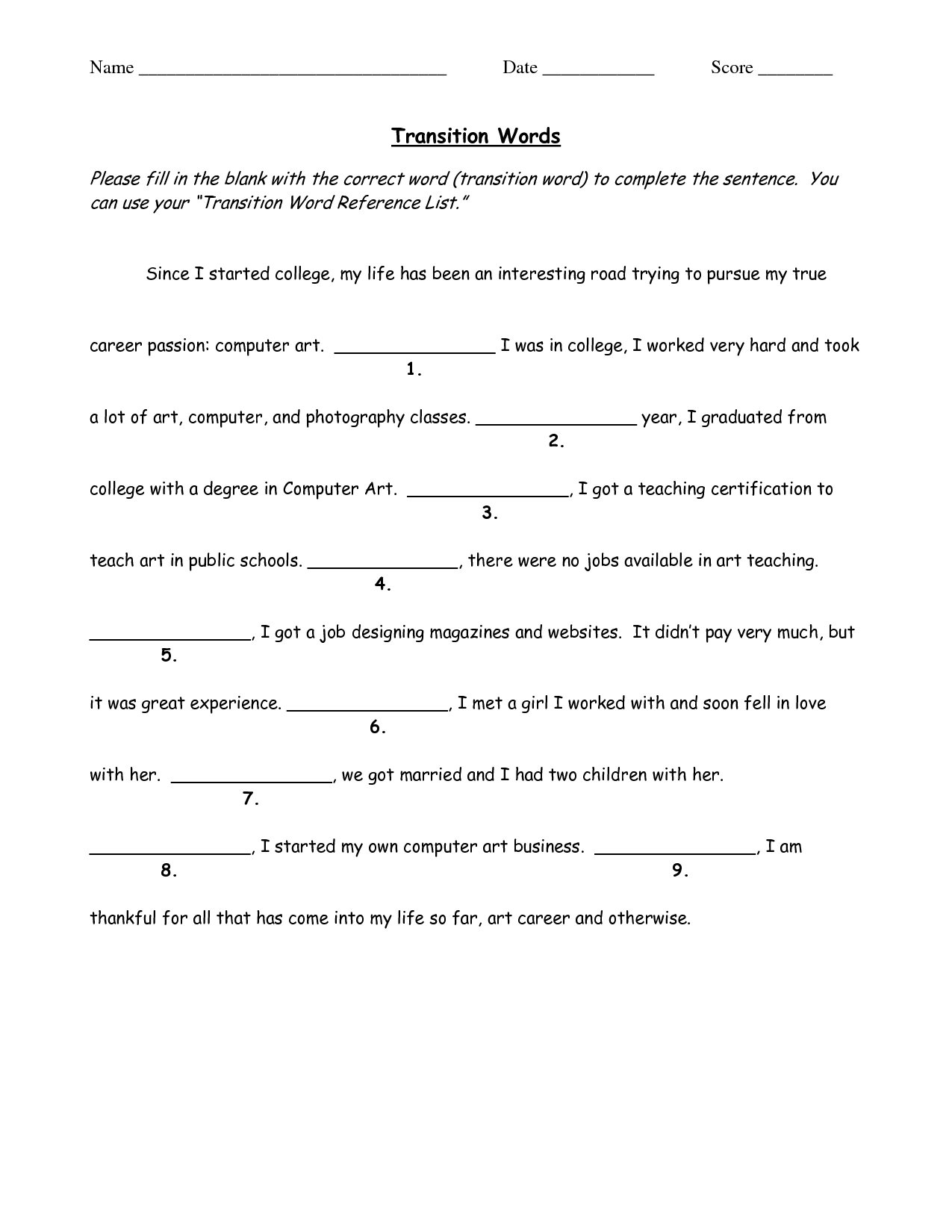 31 Transition Words Worksheet High School