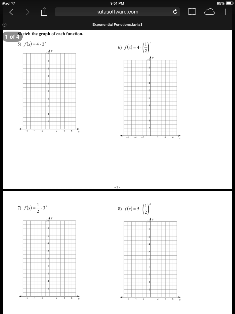 Graphing Exponential Functions Worksheet 2 Answers