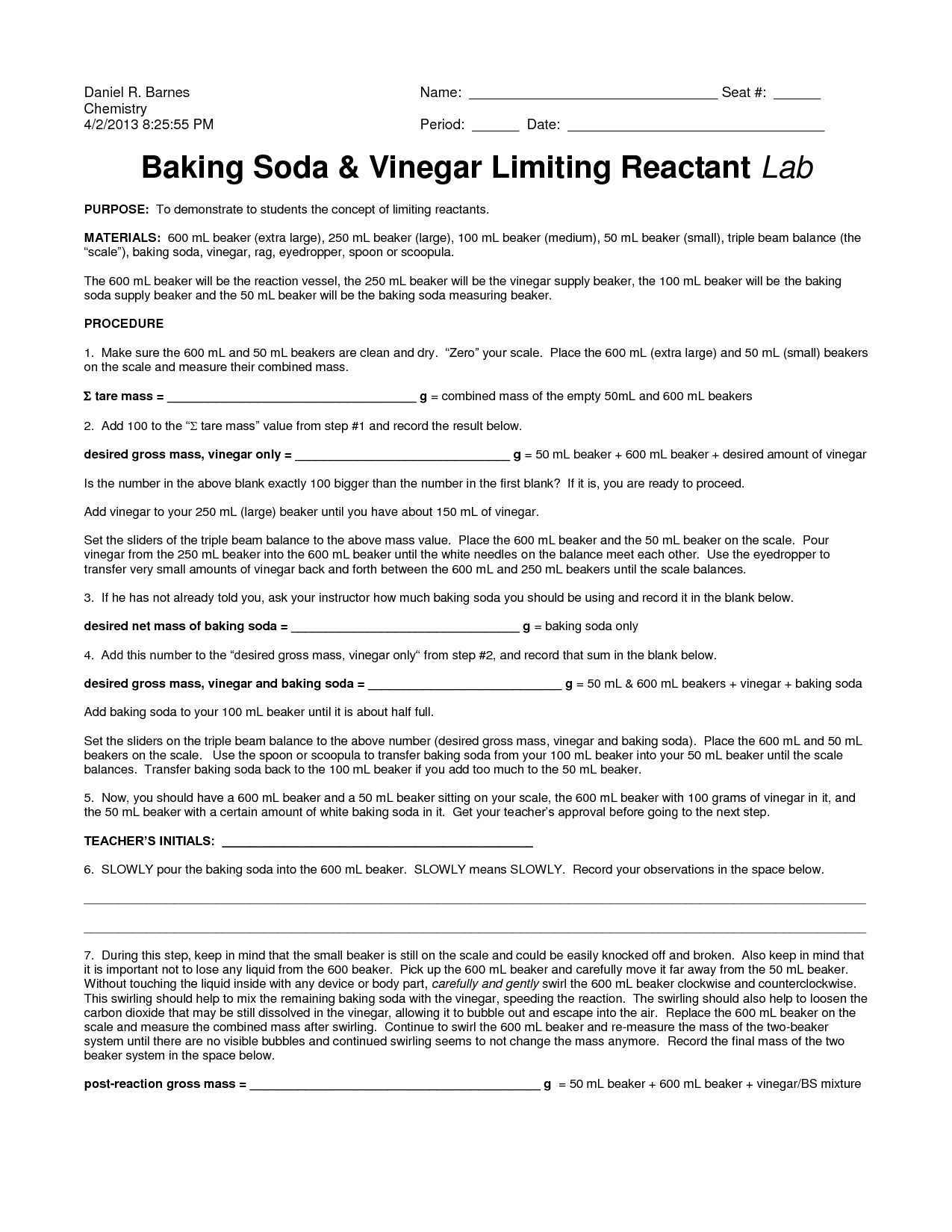 Baking Soda Reaction Worksheet
