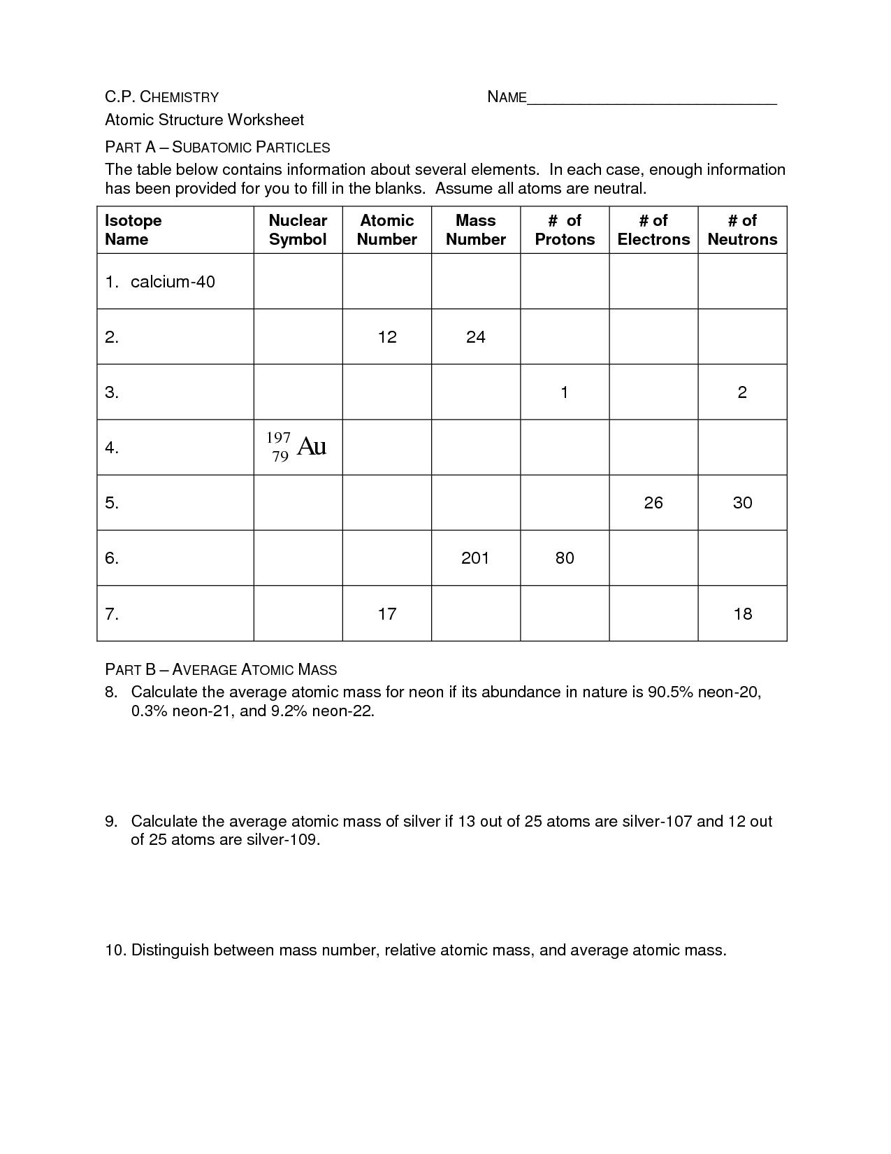 Basic Atomic Structure Worksheet Answers