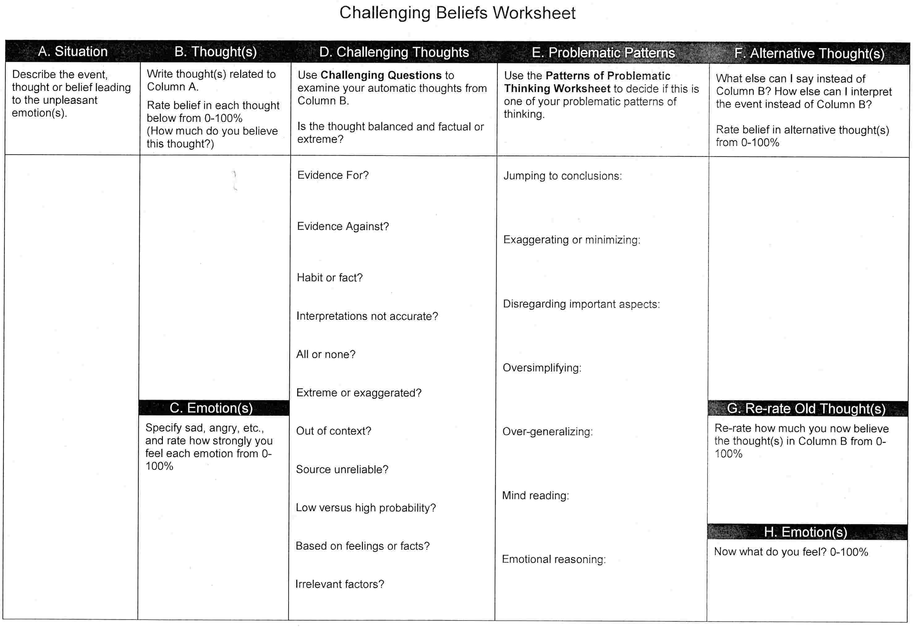 15 Best Images Of Cognitive Therapy Worksheets