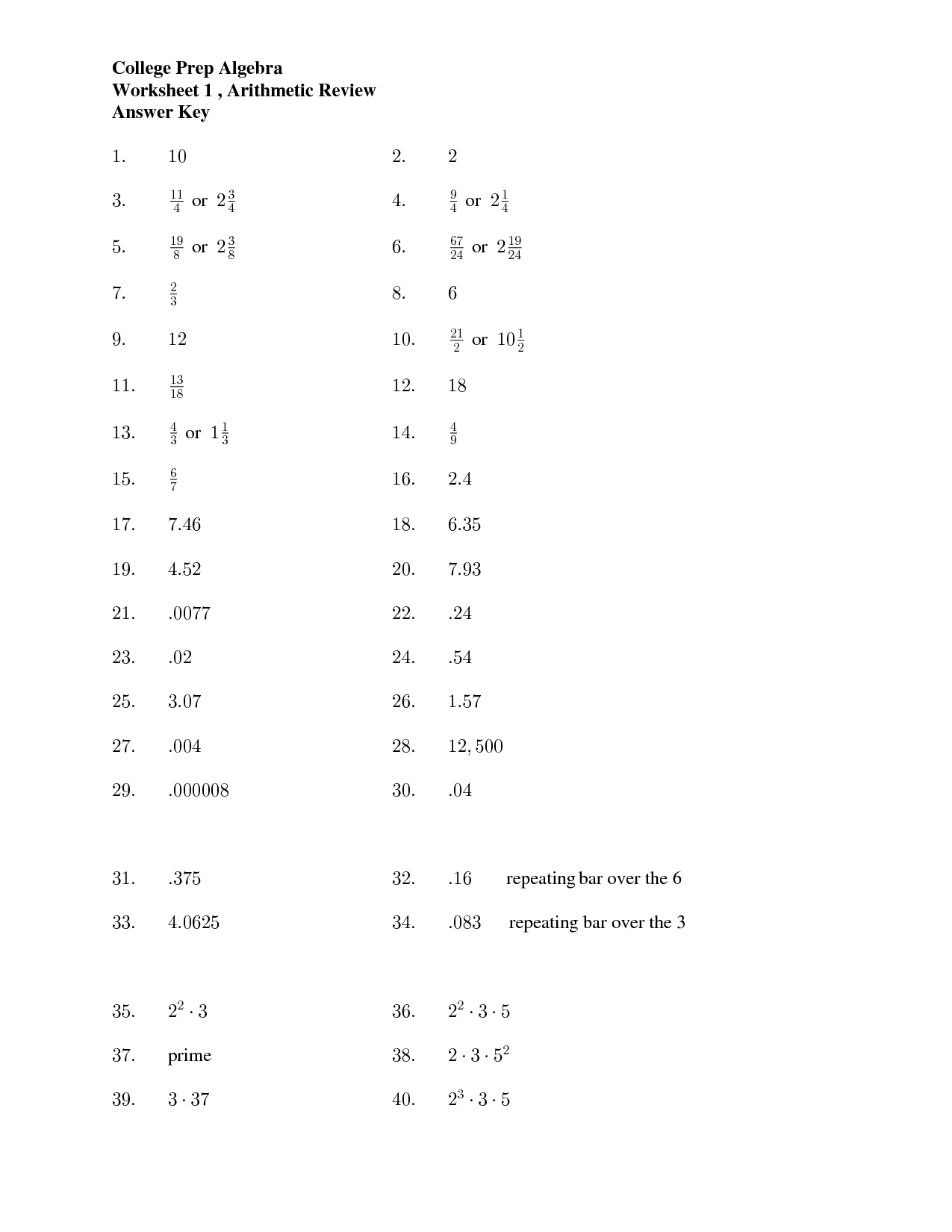 11 Best Images Of Calculus Math Worksheets