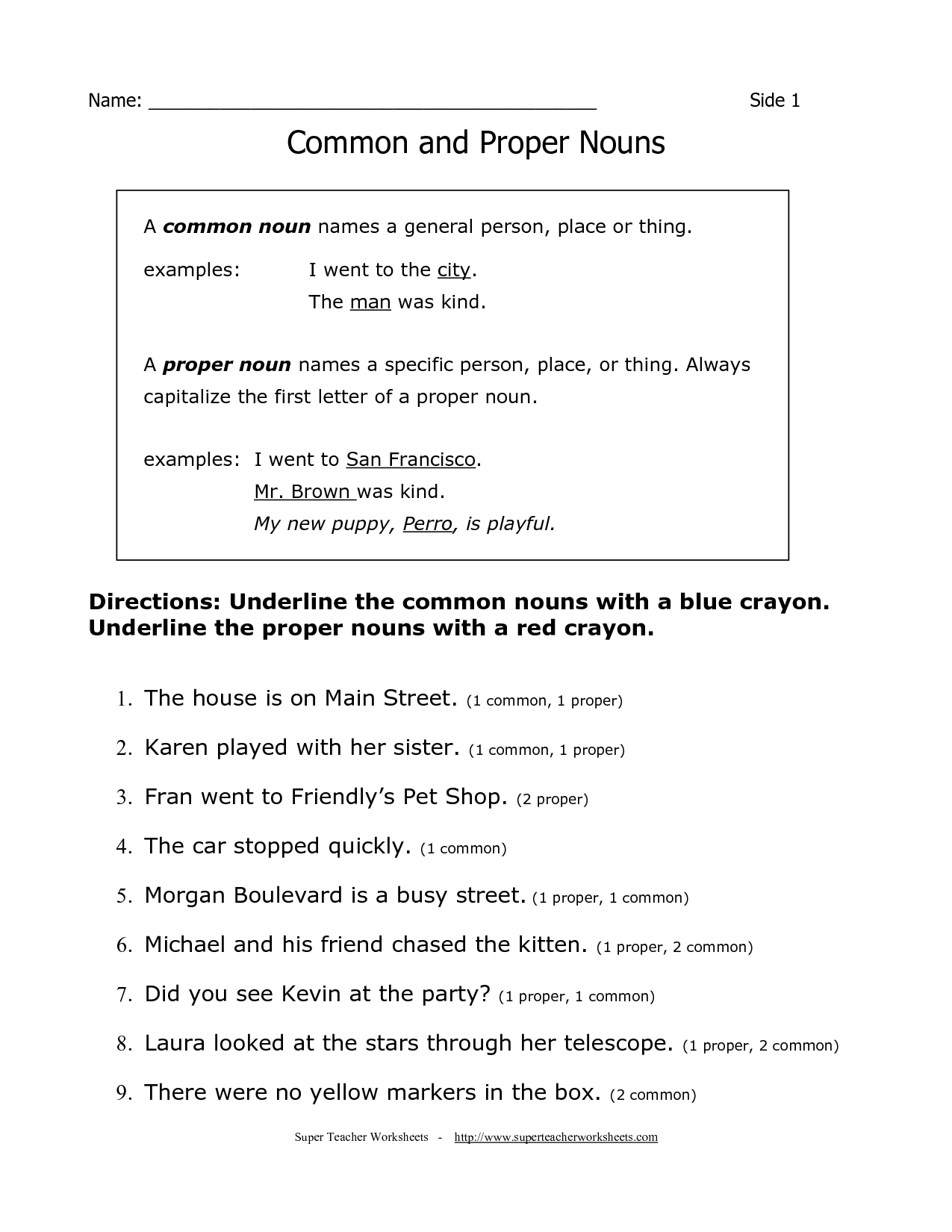 Proper Noun Worksheet Grade 4