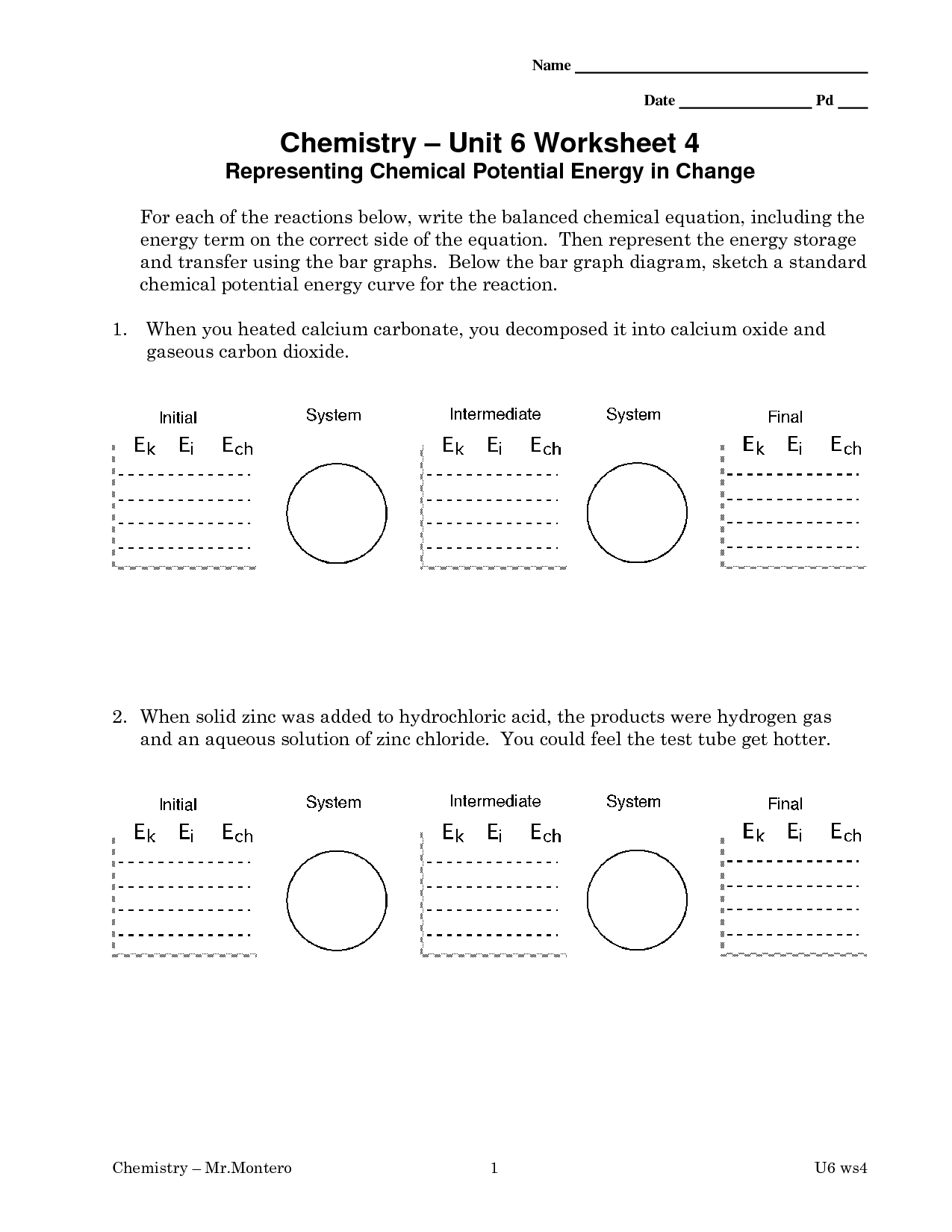 Potential Energy Diagram Worksheet Answer Key