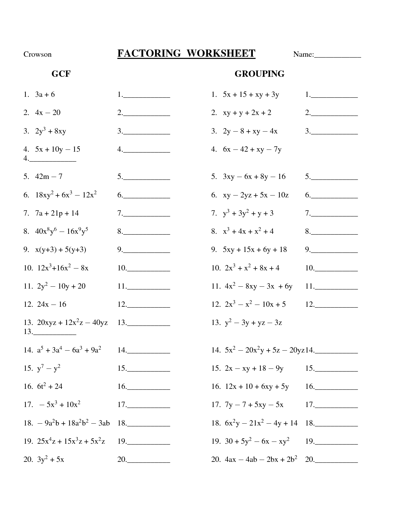 11 Best Images Of Factoring Worksheets With Answers