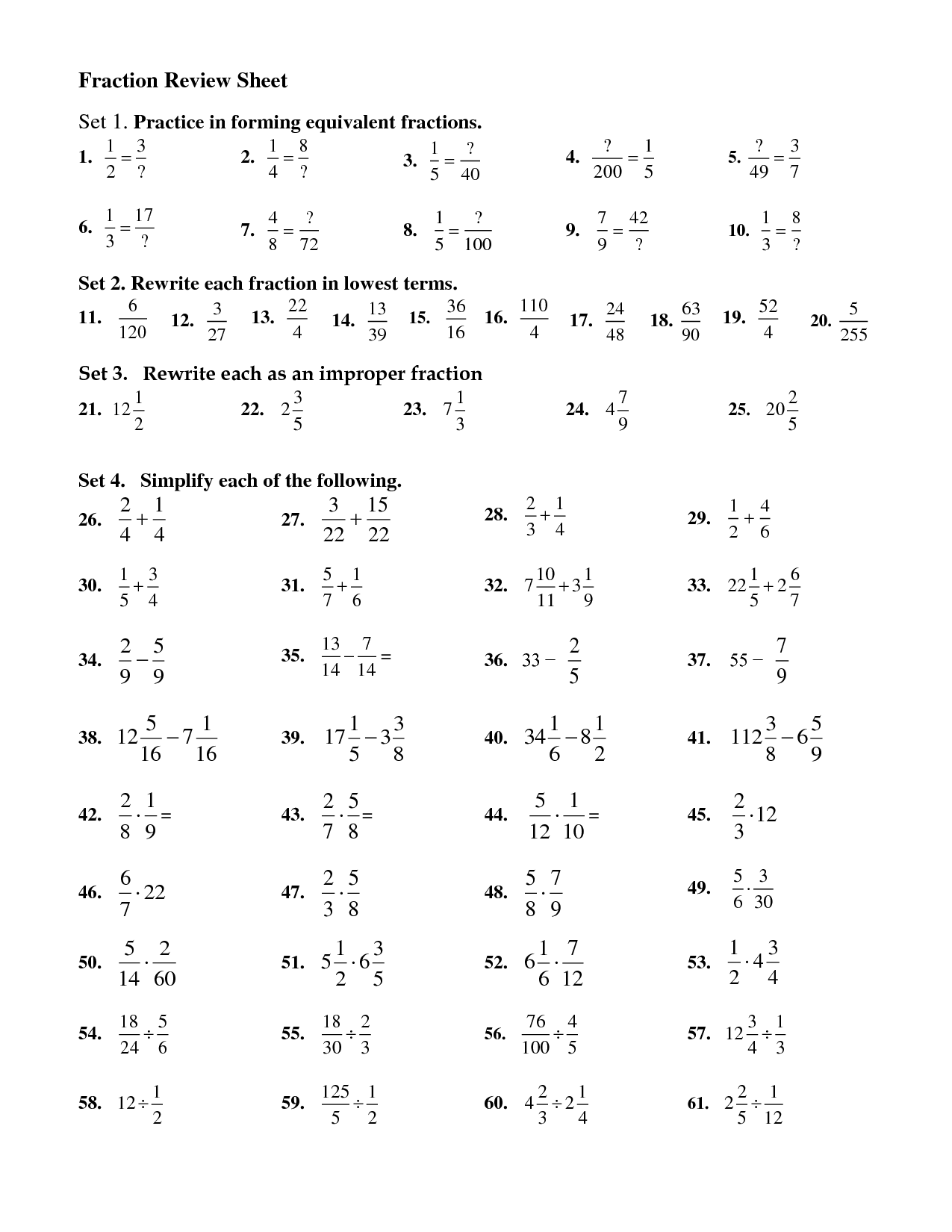 Pairs Equivalent Fractions Worksheet