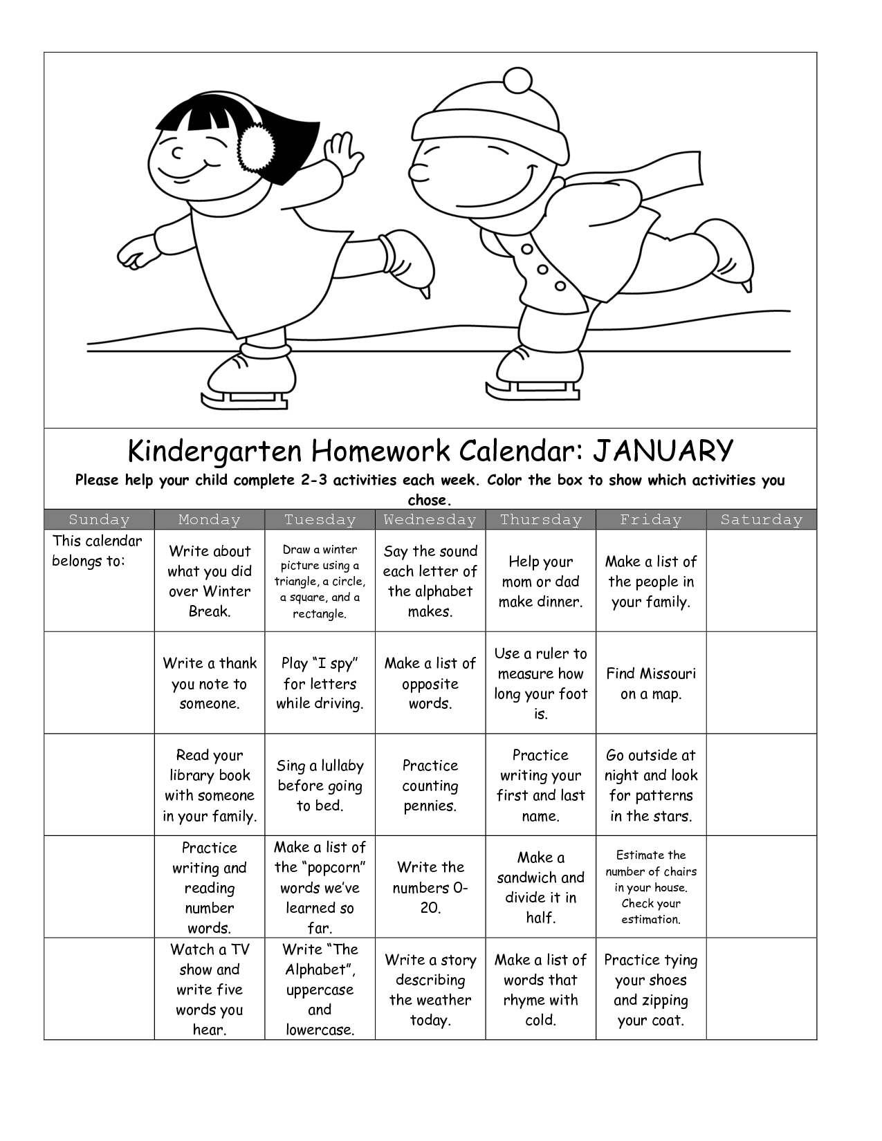 13 Best Images Of Calendar Activities Worksheets