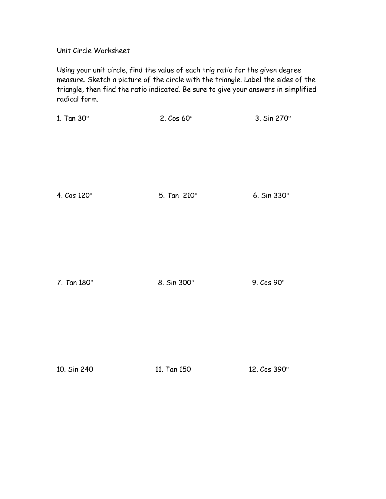 Unit Circle Worksheet With Answers