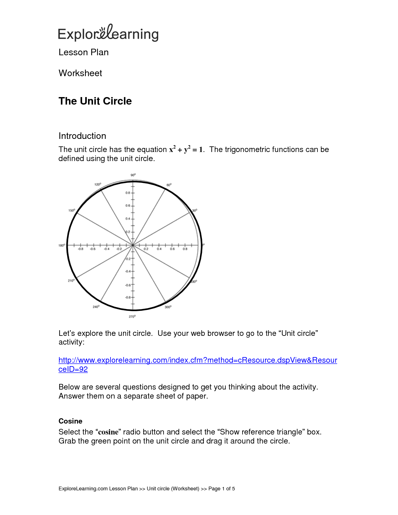 Unit Circle Coordinates Worksheet