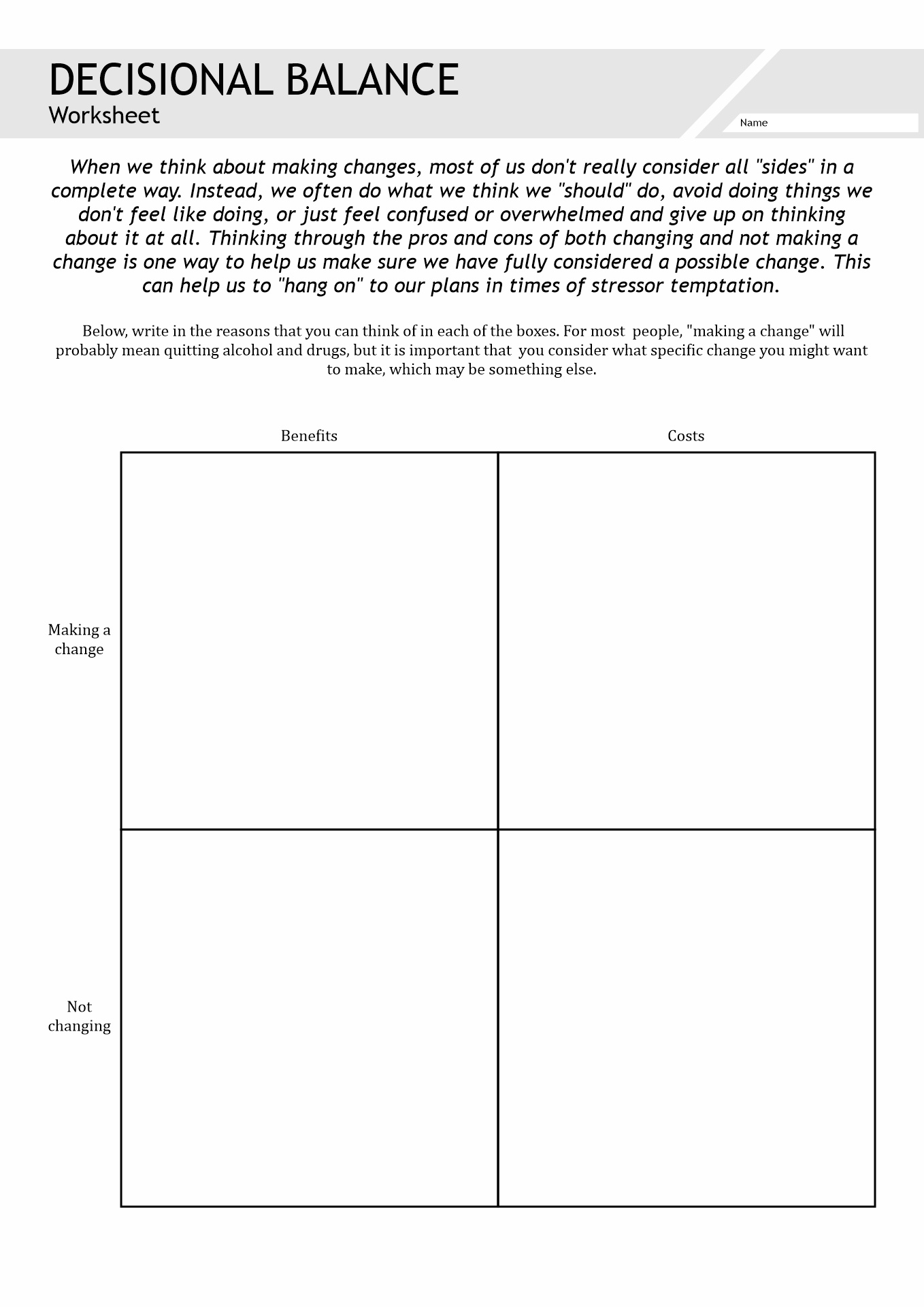 Substance Abuse Activity Worksheets