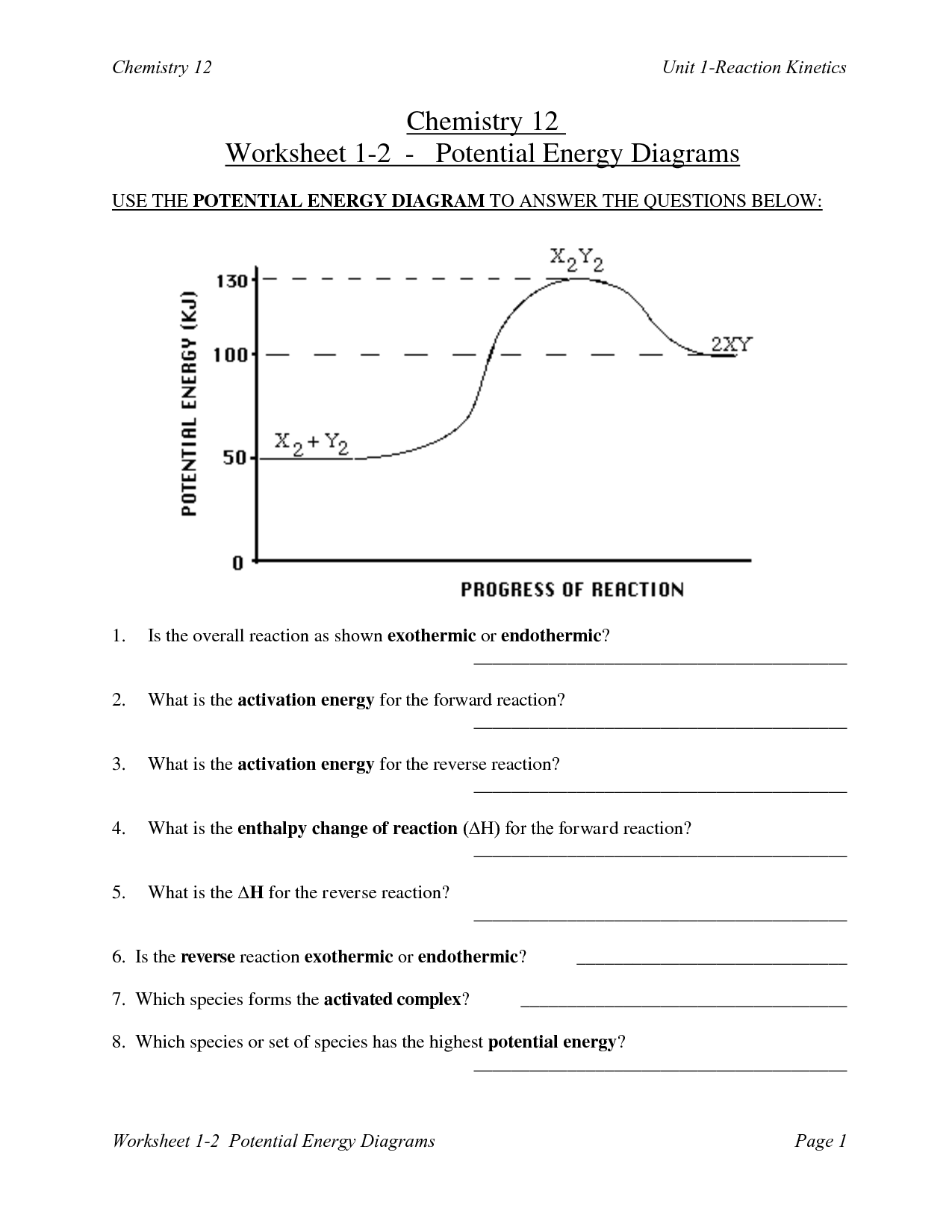 Kiic And Potential Energy Worksheet With Answers