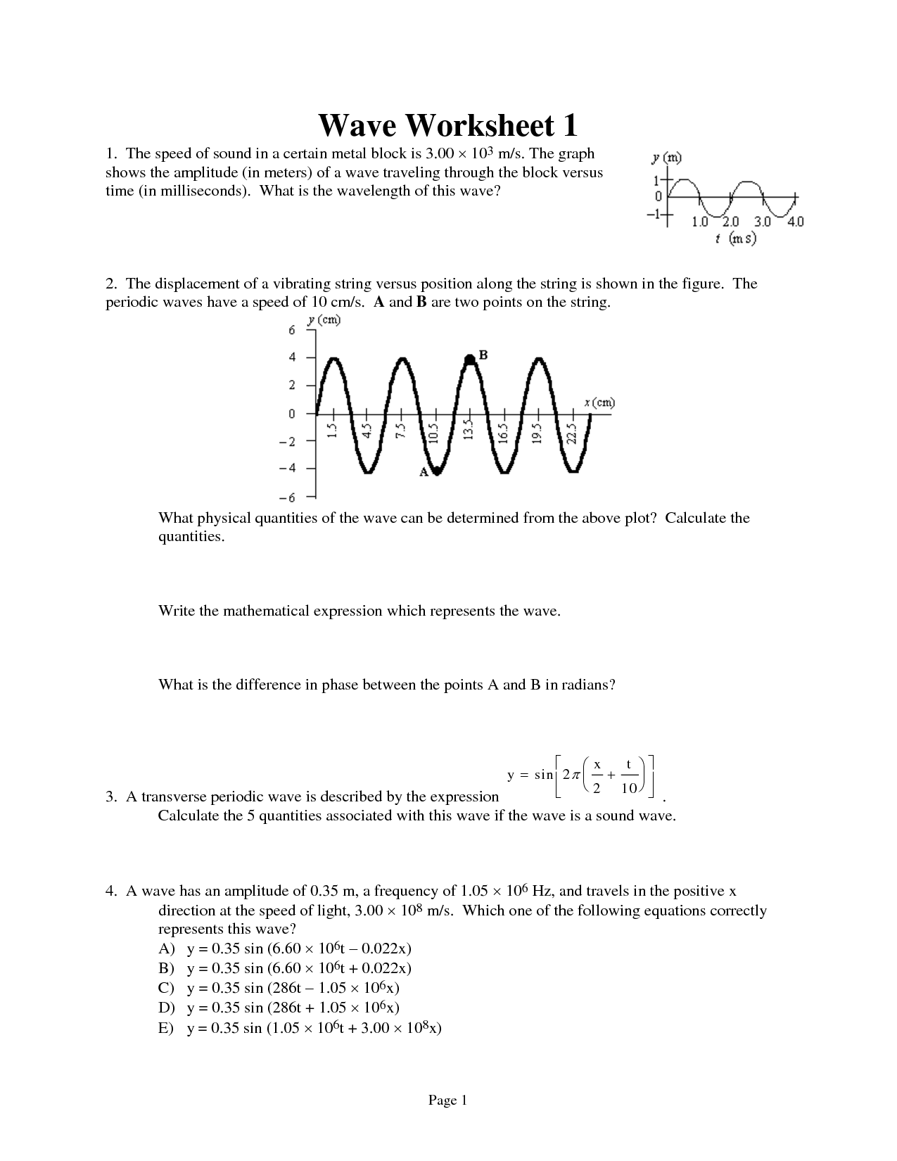 13 Best Images Of Profile Of A Wave Worksheet