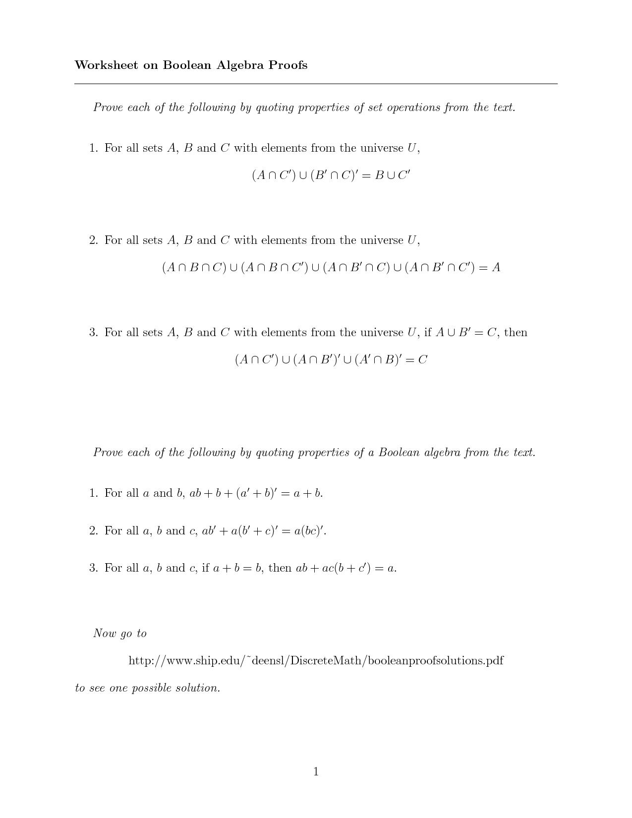 11 Best Images Of Algebra Worksheet On Set
