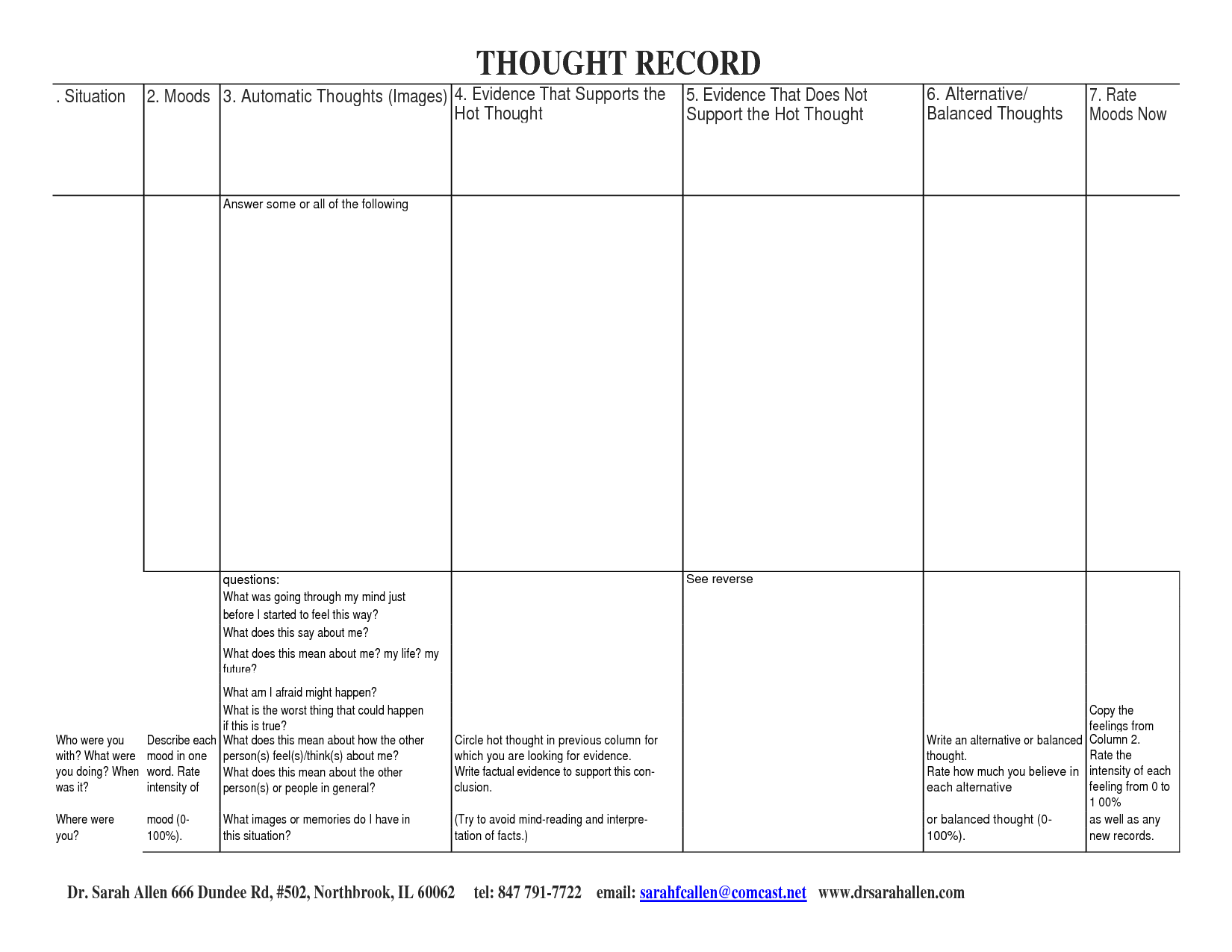 Challenging Negative Thoughts Worksheet