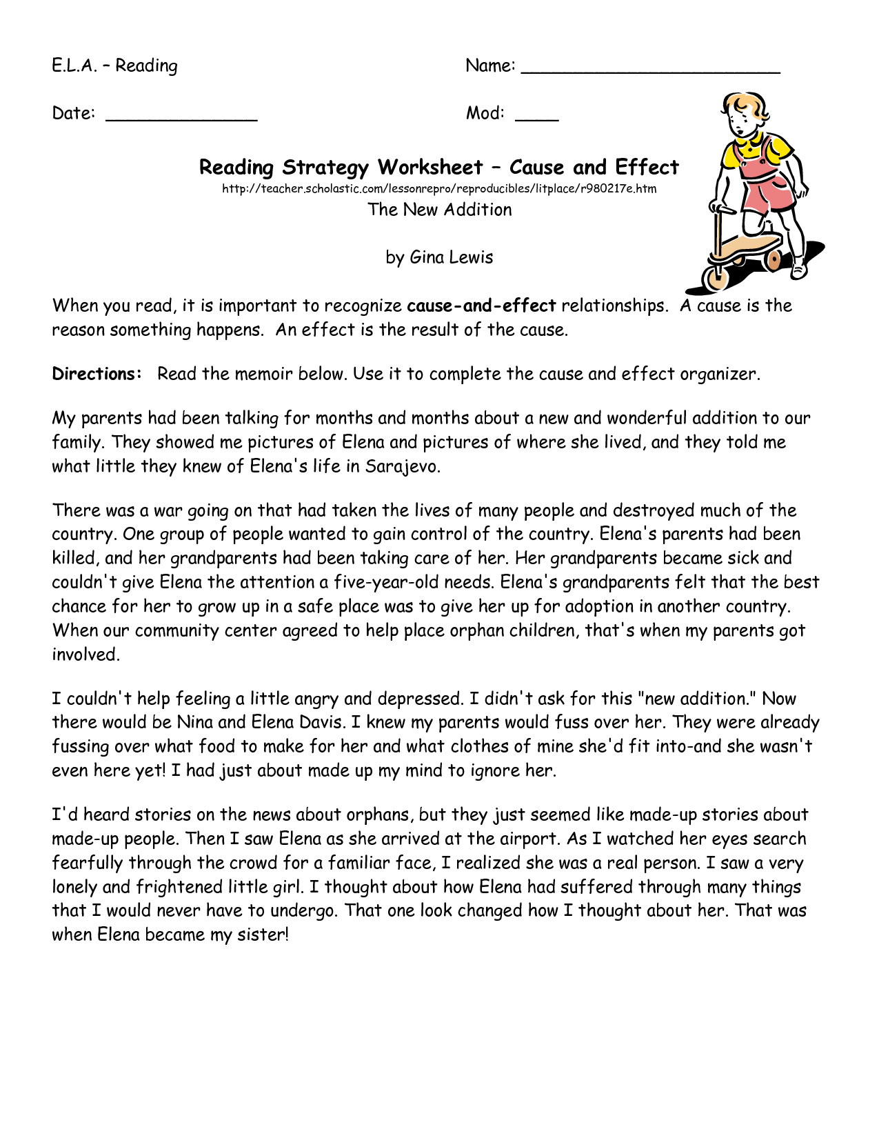 11 Best Images Of Reading Strategy Worksheet Middle School