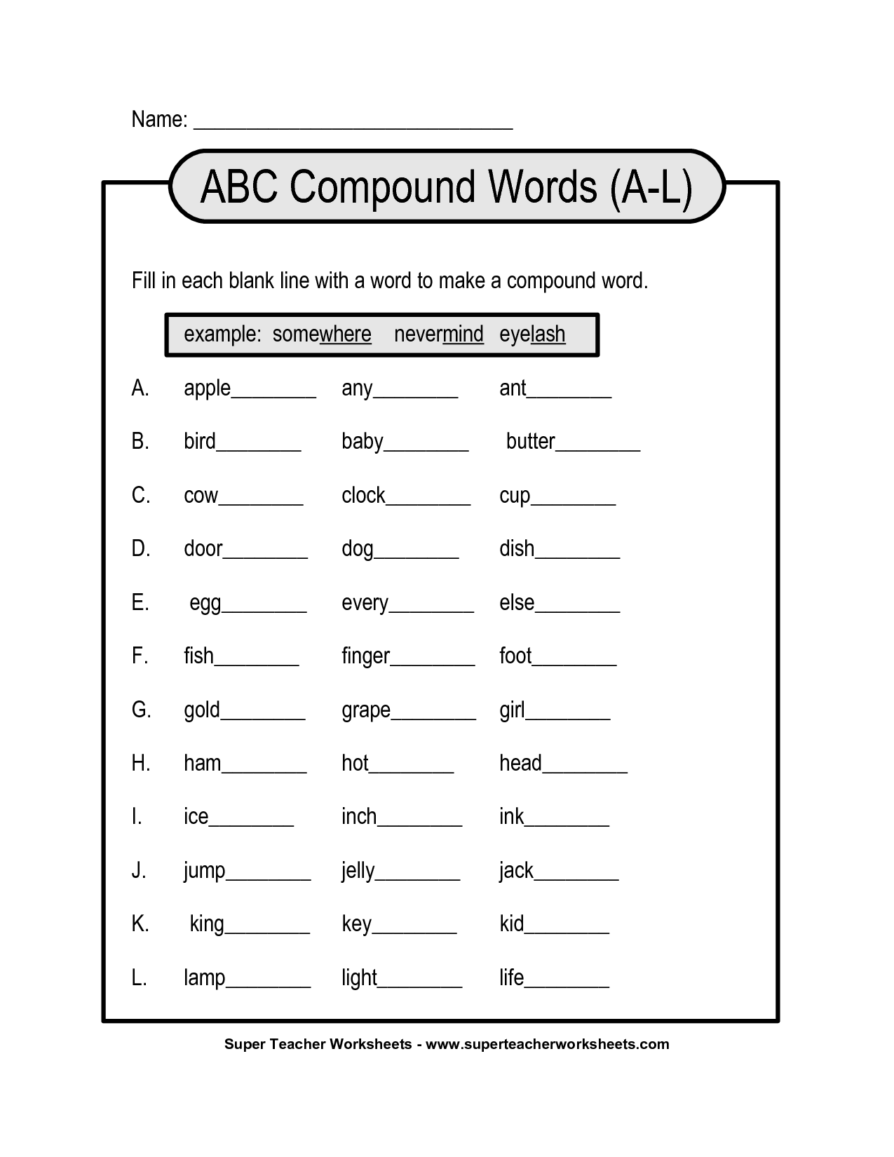 14 Best Images Of Compound Words Worksheets