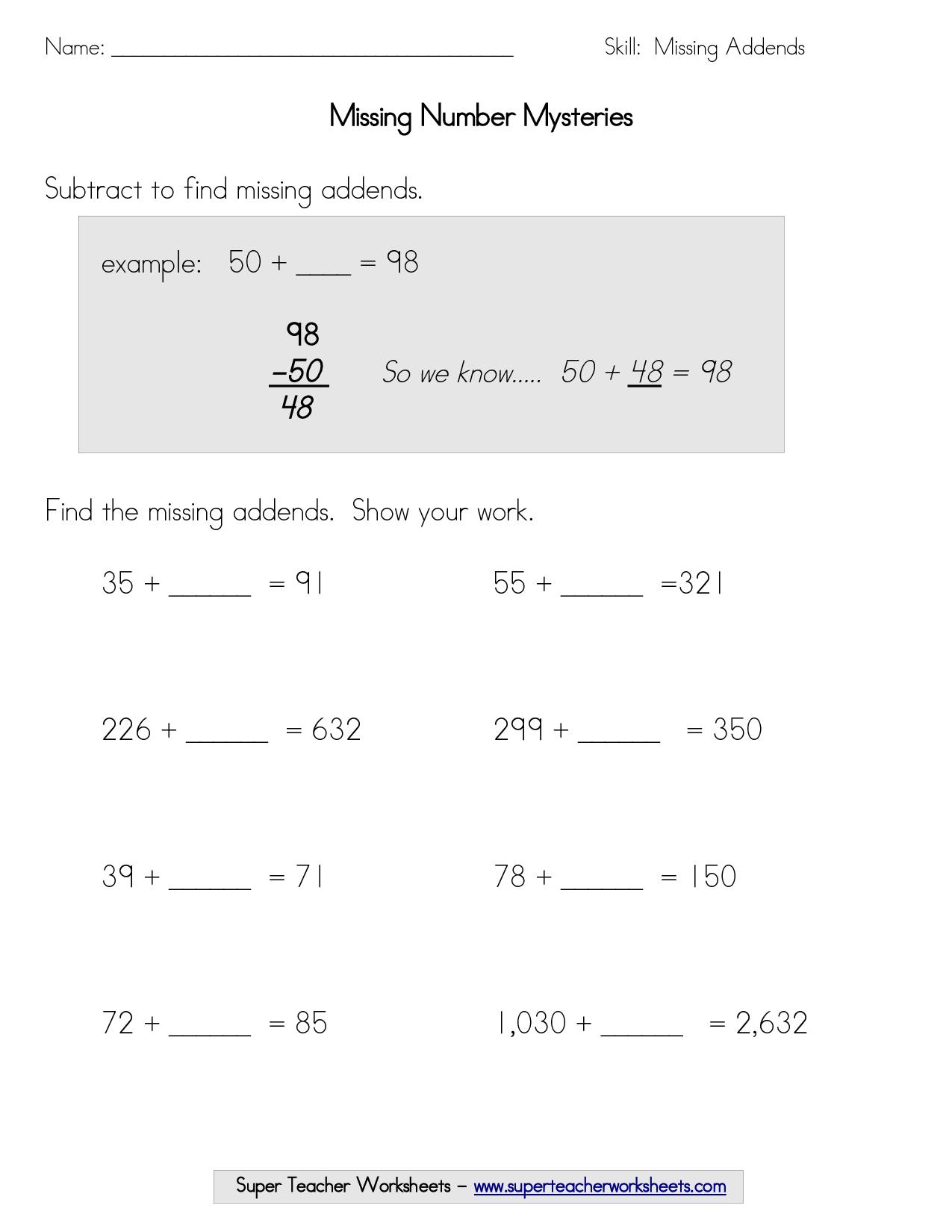 15 Best Images Of Find The Missing Number Worksheet