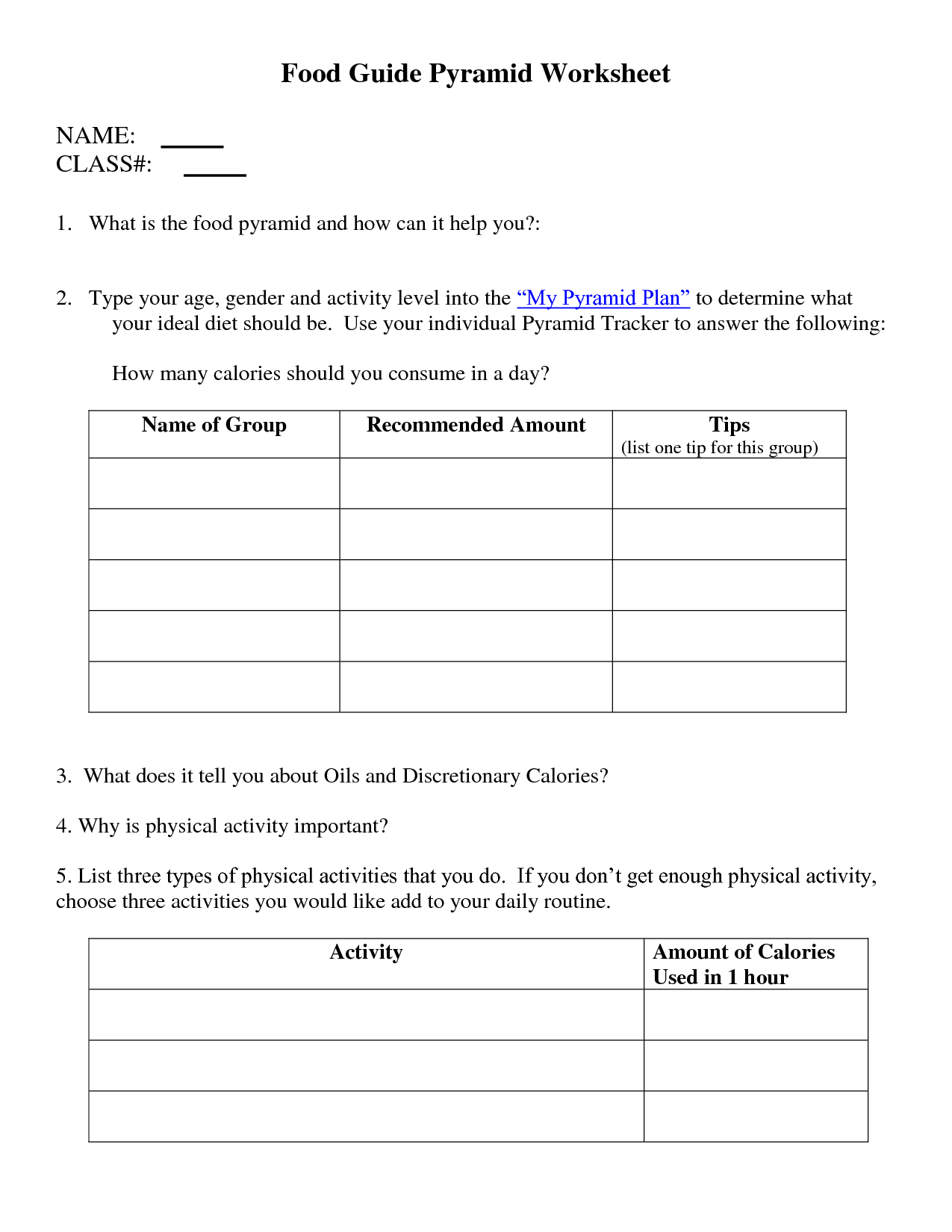 9 Best Images Of Free Food Guide Pyramid Worksheets